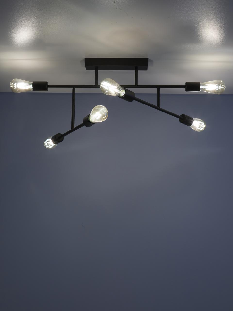 Plafondlamp Joni, Gepoedercoat metaal, Zwart, 104 x 36 cm