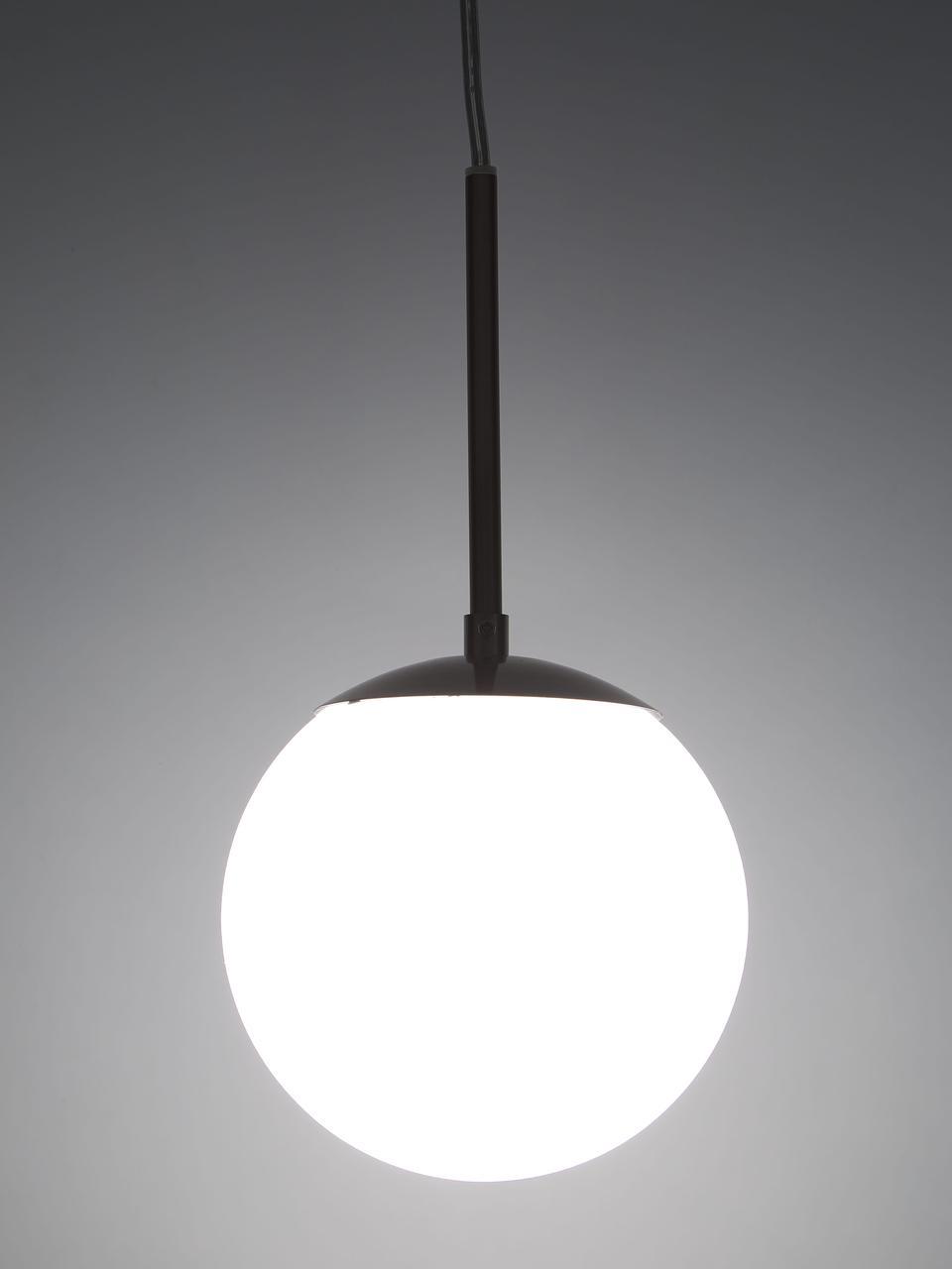 Lampada a sospensione in vetro opale Cafe, Paralume: vetro opale, Decorazione: metallo, Baldacchino: materiale sintetico, Bianco, argentato, Ø 15 x Alt. 29 cm