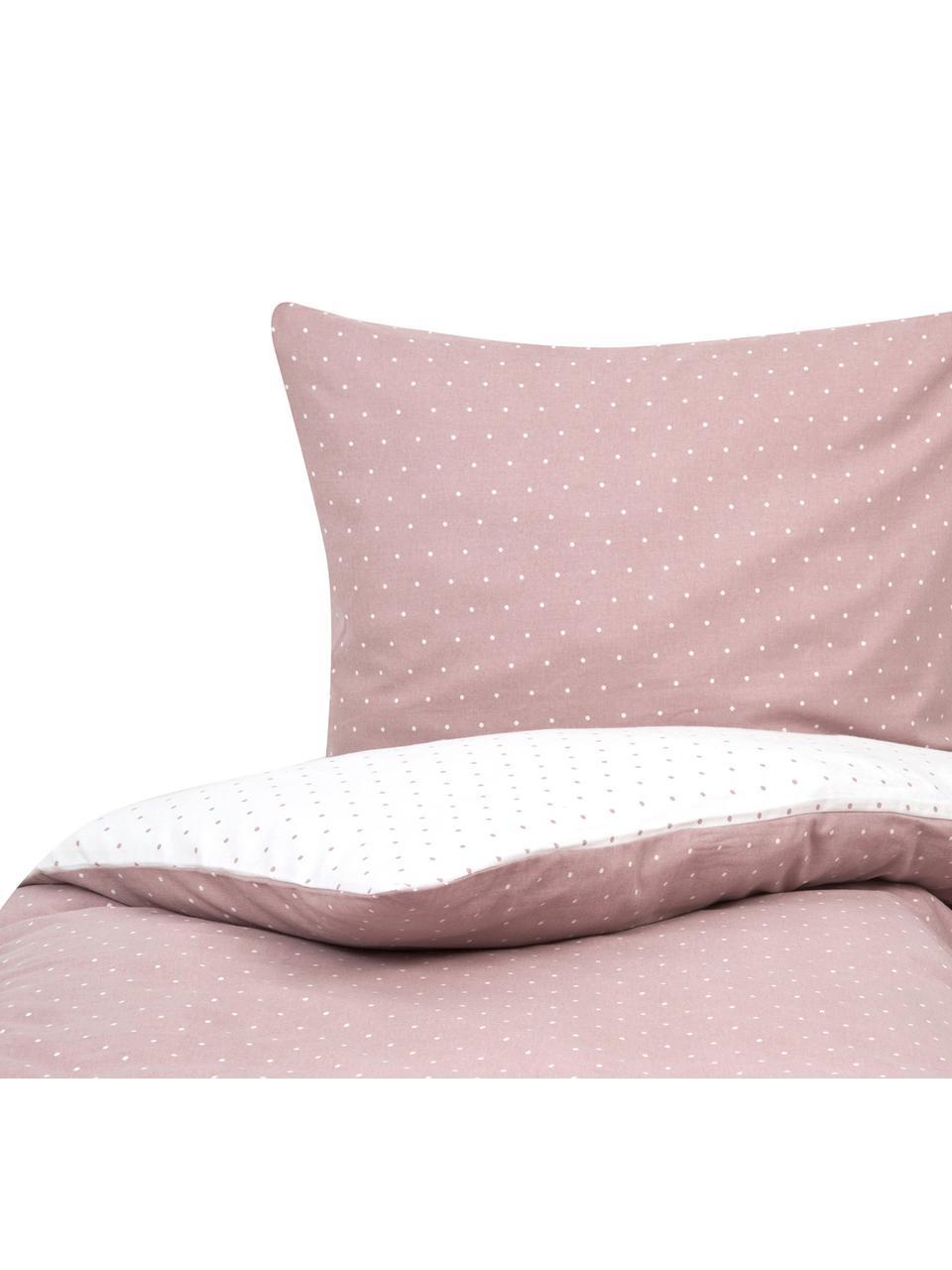 Flanell-Wendebettwäsche Betty, gepunktet, Webart: Flanell Flanell ist ein k, Altrosa, Weiss, 135 x 200 cm + 1 Kissen 80 x 80 cm