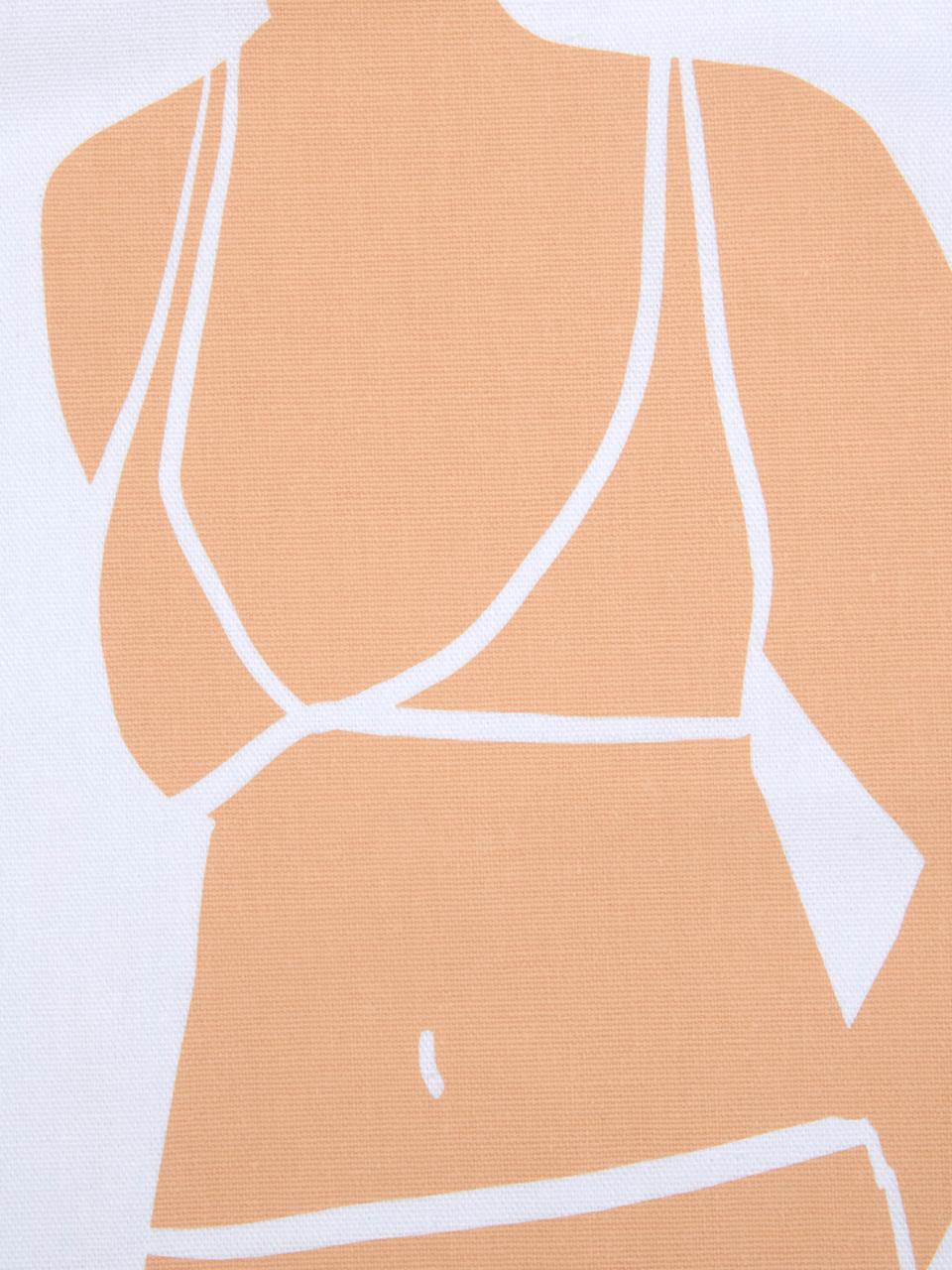 Design kussenhoes Body van Kera Till, 100% katoen, Wit, beige, bruin, 40 x 40 cm