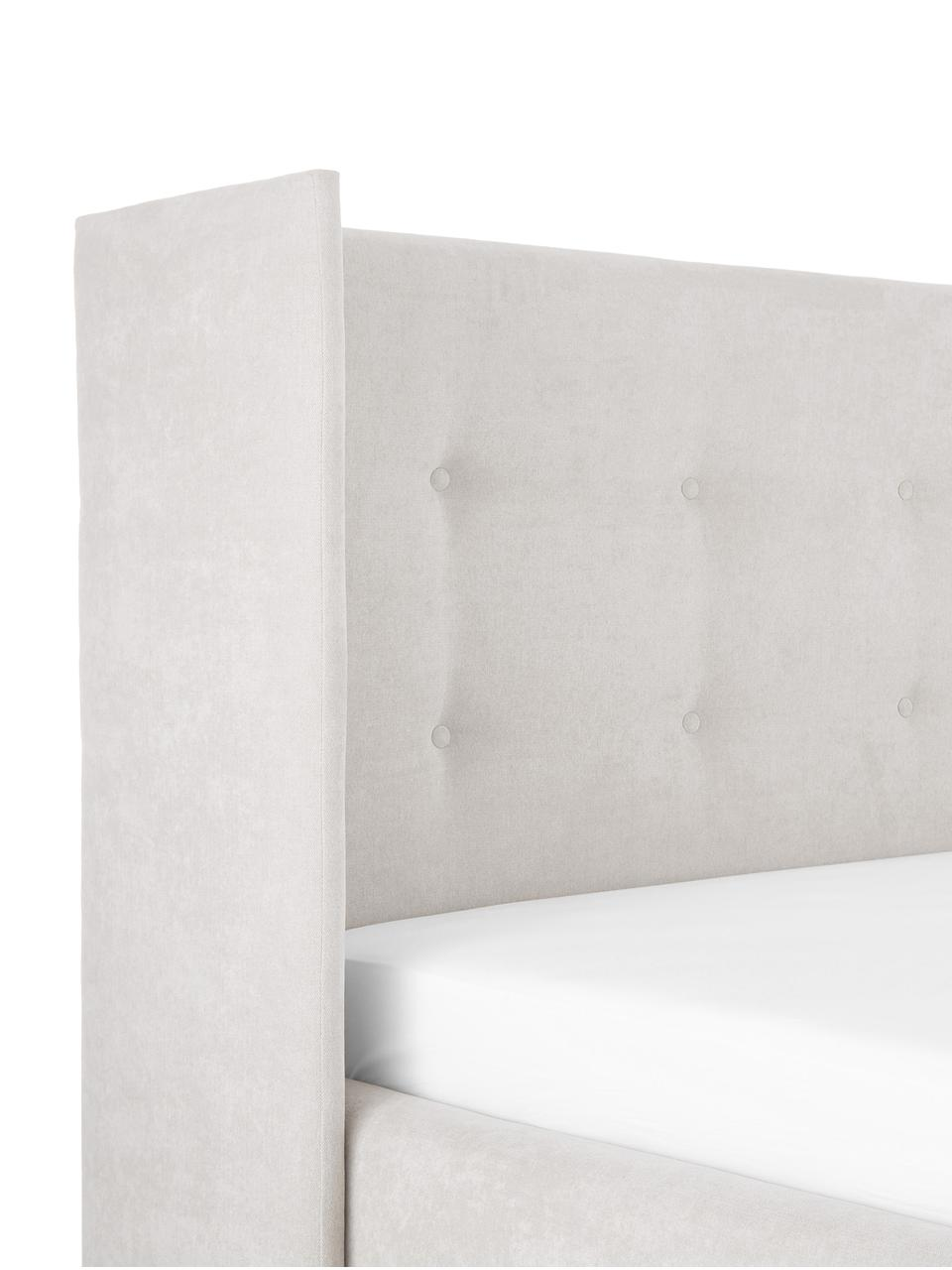 Polsterbett Star, Korpus: Massives Kiefernholz und , Bezug: Polyester (Strukturstoff), Webstoff Beige, 180 x 200 cm
