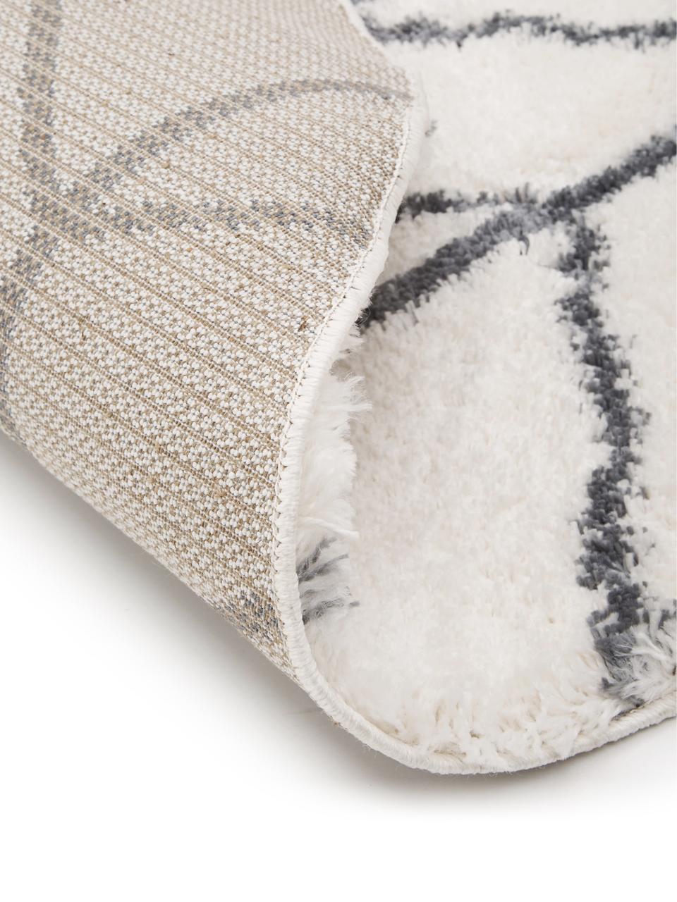 Hochflor-Teppich Cera in Cremeweiß/Dunkelgrau, Flor: 100% Polypropylen, Cremeweiß, Dunkelgrau, Ø 150 cm (Größe M)