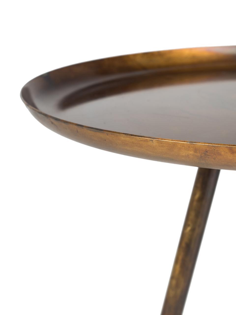 Runder Beistelltisch Frost aus Metall, Goldfarben, Kupfer, Ø 39 x H 45 cm