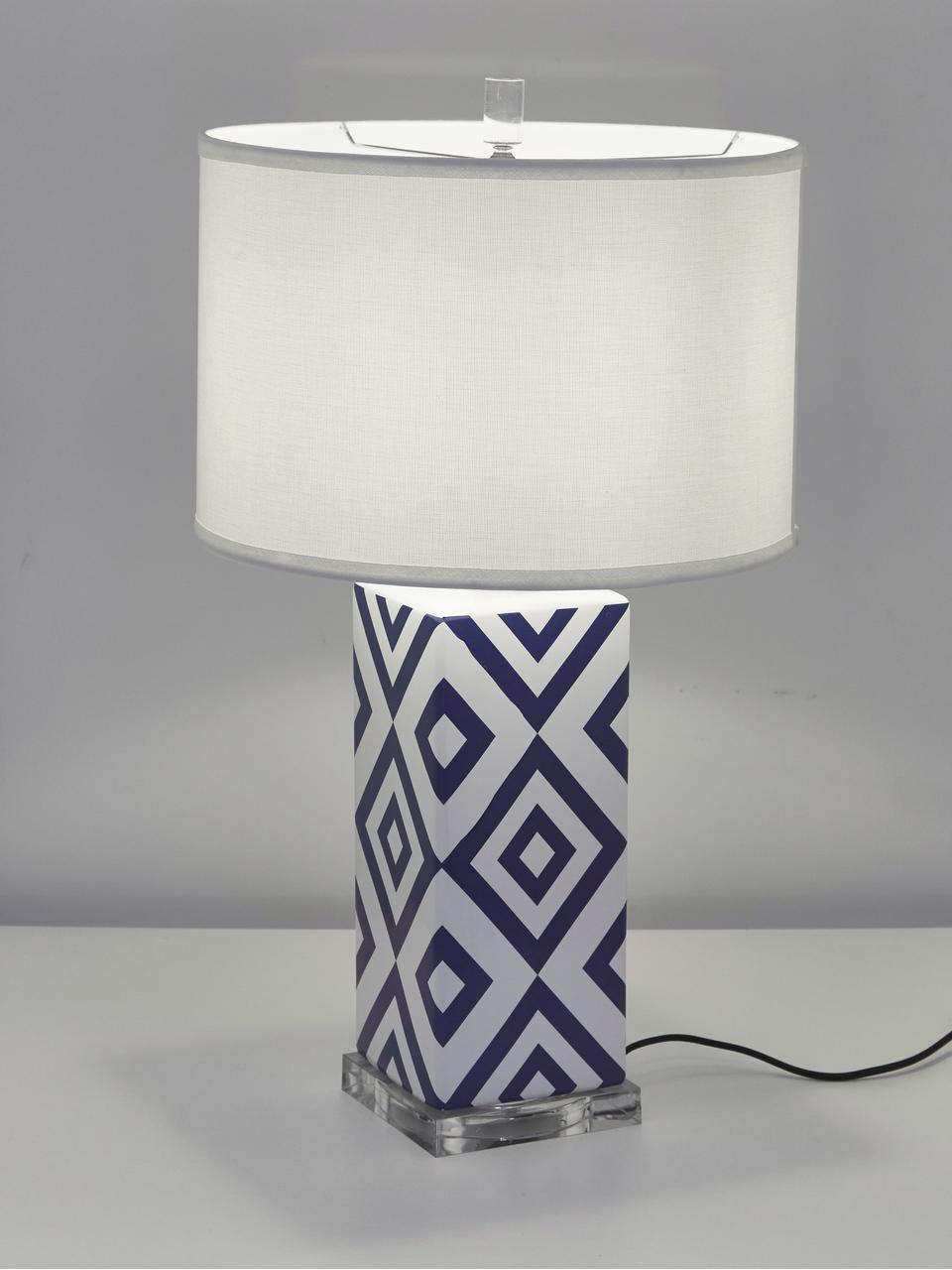 Große Tischlampen Patricia, 2 Stück, Lampenschirm: Textil, Lampenfuß: Keramik, Acryl, Blau, Weiß, Ø 38 x H 69 cm