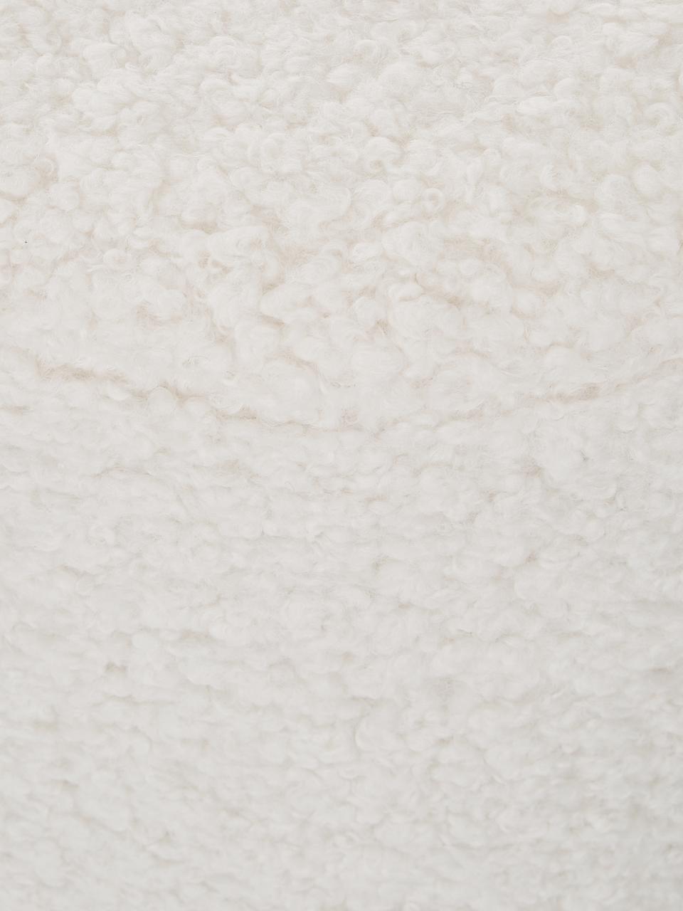 Teddy-Hocker Daisy, Bezug: Polyester (Teddyfell) 40., Rahmen: Sperrholz, Teddy Cremeweiß, Ø 38 x H 45 cm