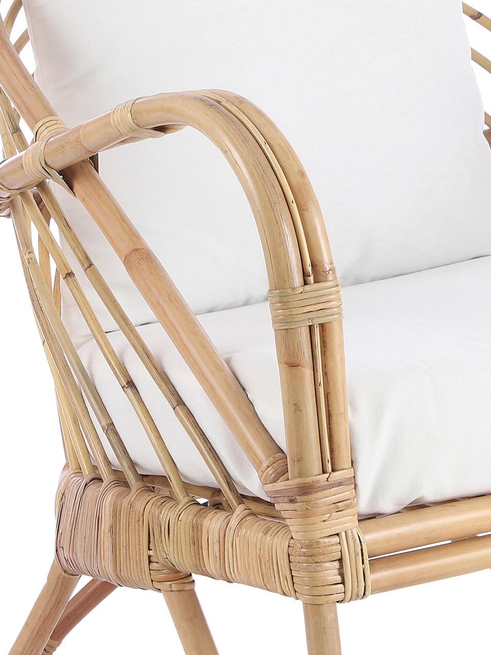 Rattan-Loungesessel Rochester, Gestell: Rattan, Bezug: Polyester, Rattan, Weiß, B 75 x T 80 cm