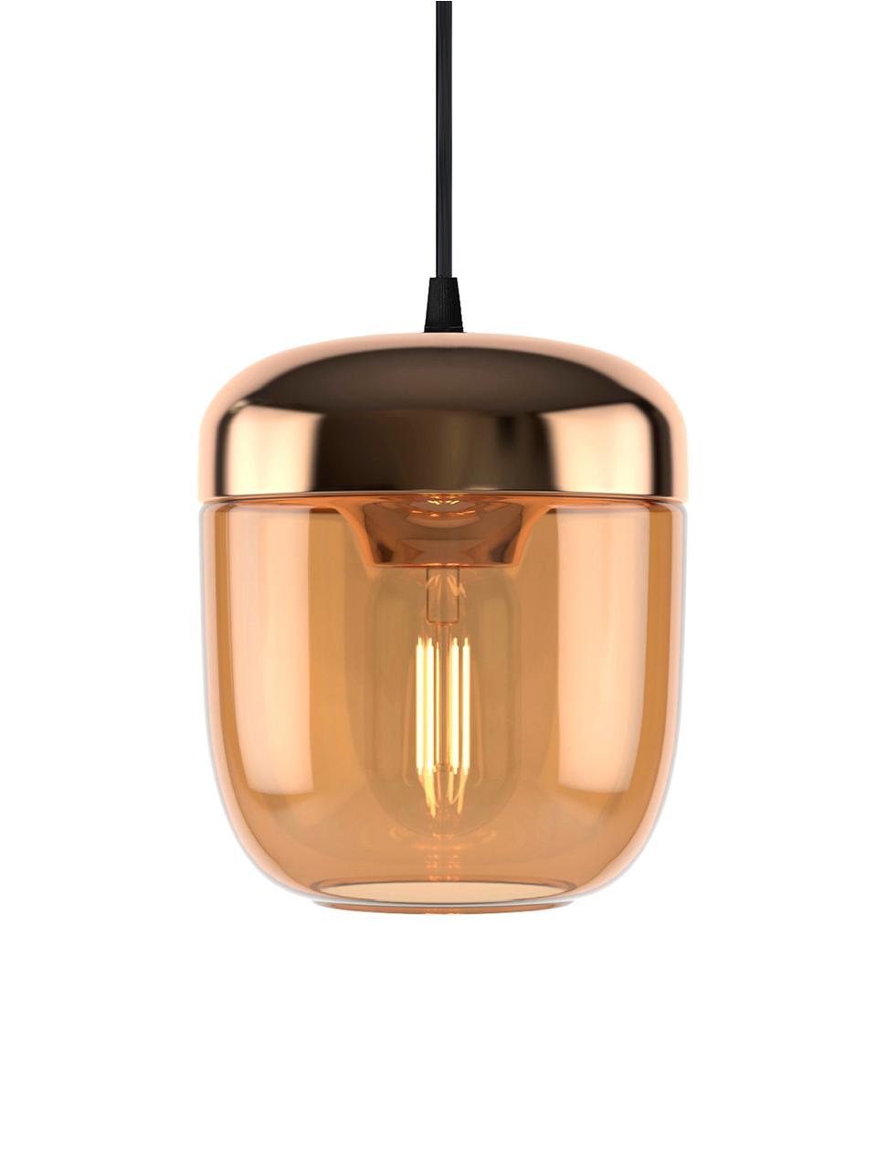Lampada a sospensione in vetro Acorn, Baldacchino: silicone, Rame, ambra, Ø 14 x Alt. 16 cm