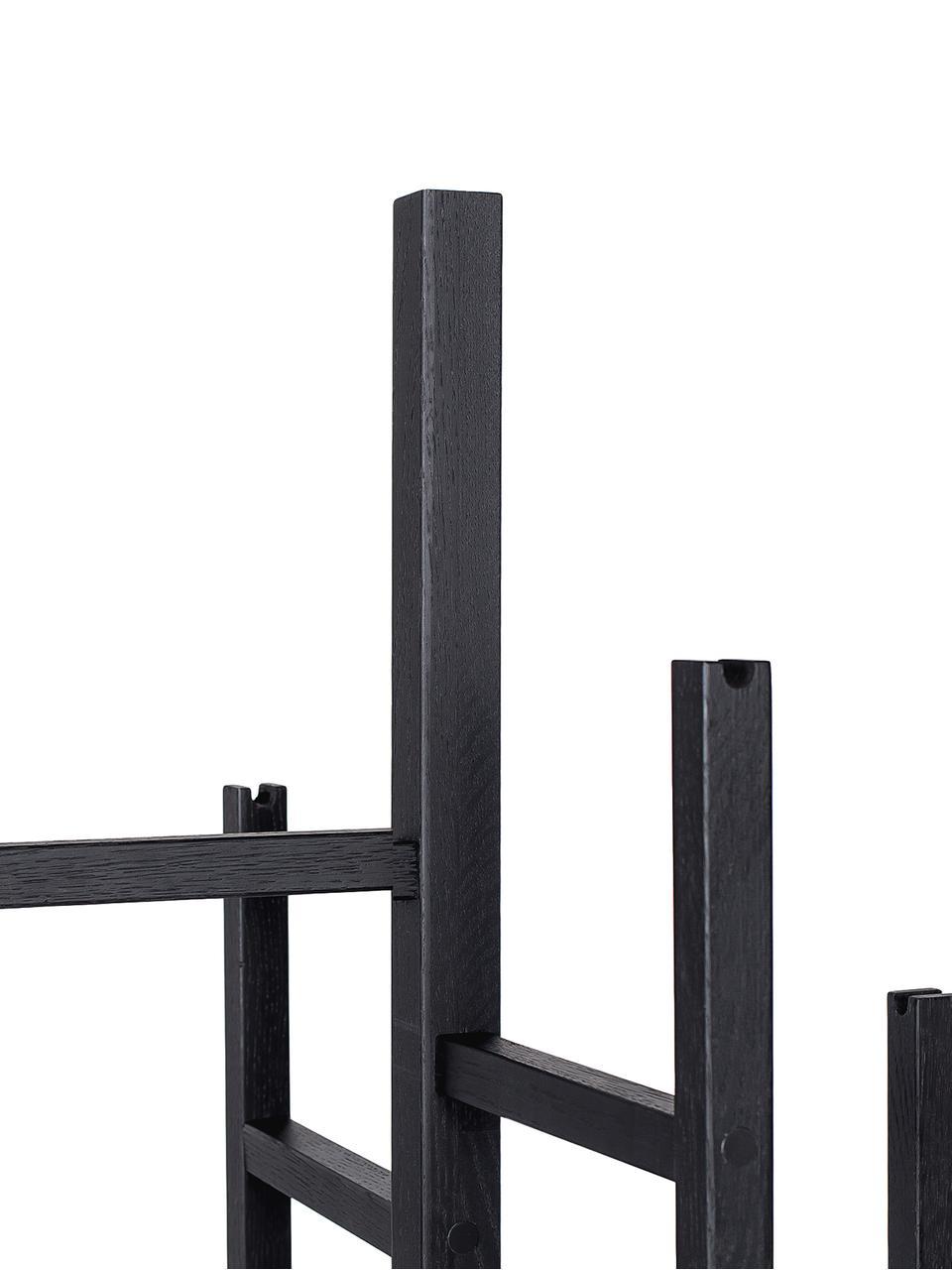 Moderne Garderobe Eigen mit 5 Haken, Eichenholz, massiv und lackiert, Schwarz, 47 x 175 cm