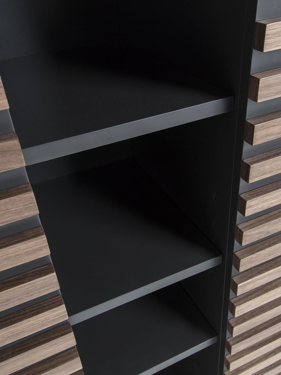 Vysoká skříňka sořechovou dýhou Kesia, Černá, ořechové dřevo