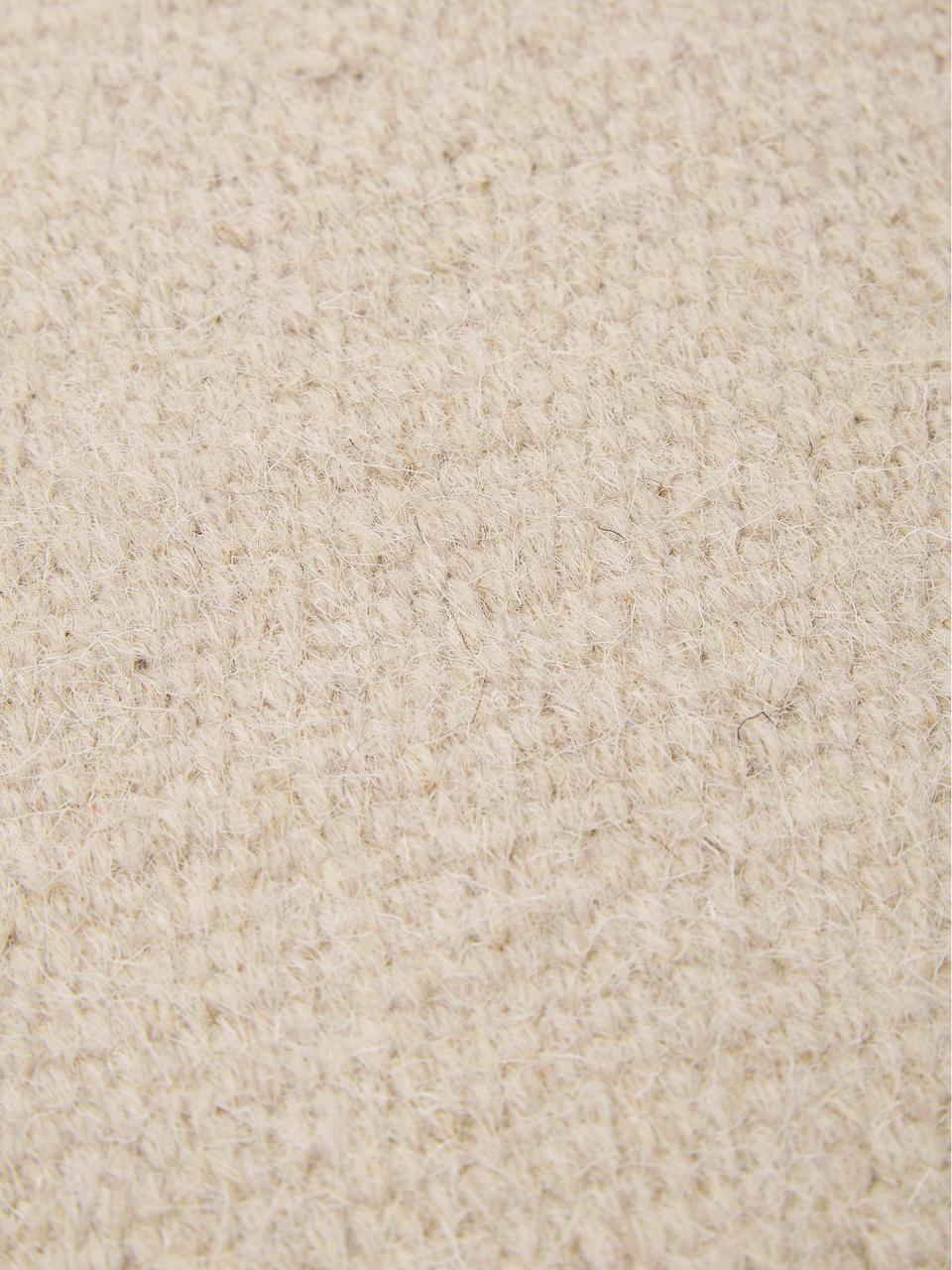 Handgewebter Wollteppich Rainbow in Beige mit Fransen, Fransen: 100% Baumwolle, Sandfarben, B 140 x L 200 cm (Größe S)