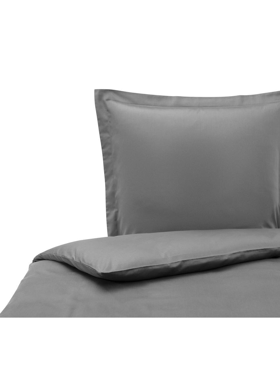 Pościel z satyny bawełnianej Premium, Ciemny szary, 135 x 200 cm