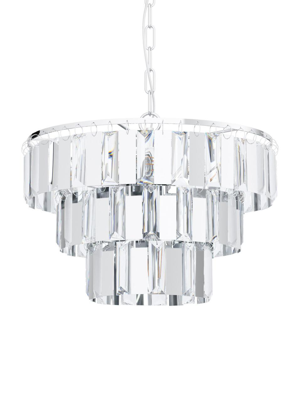 Kronleuchter Erseka aus Kristallglas, Lampenschirm: Kristallglas, Baldachin: Stahl, Transparent, Chrom, Ø 39 x H 130 cm