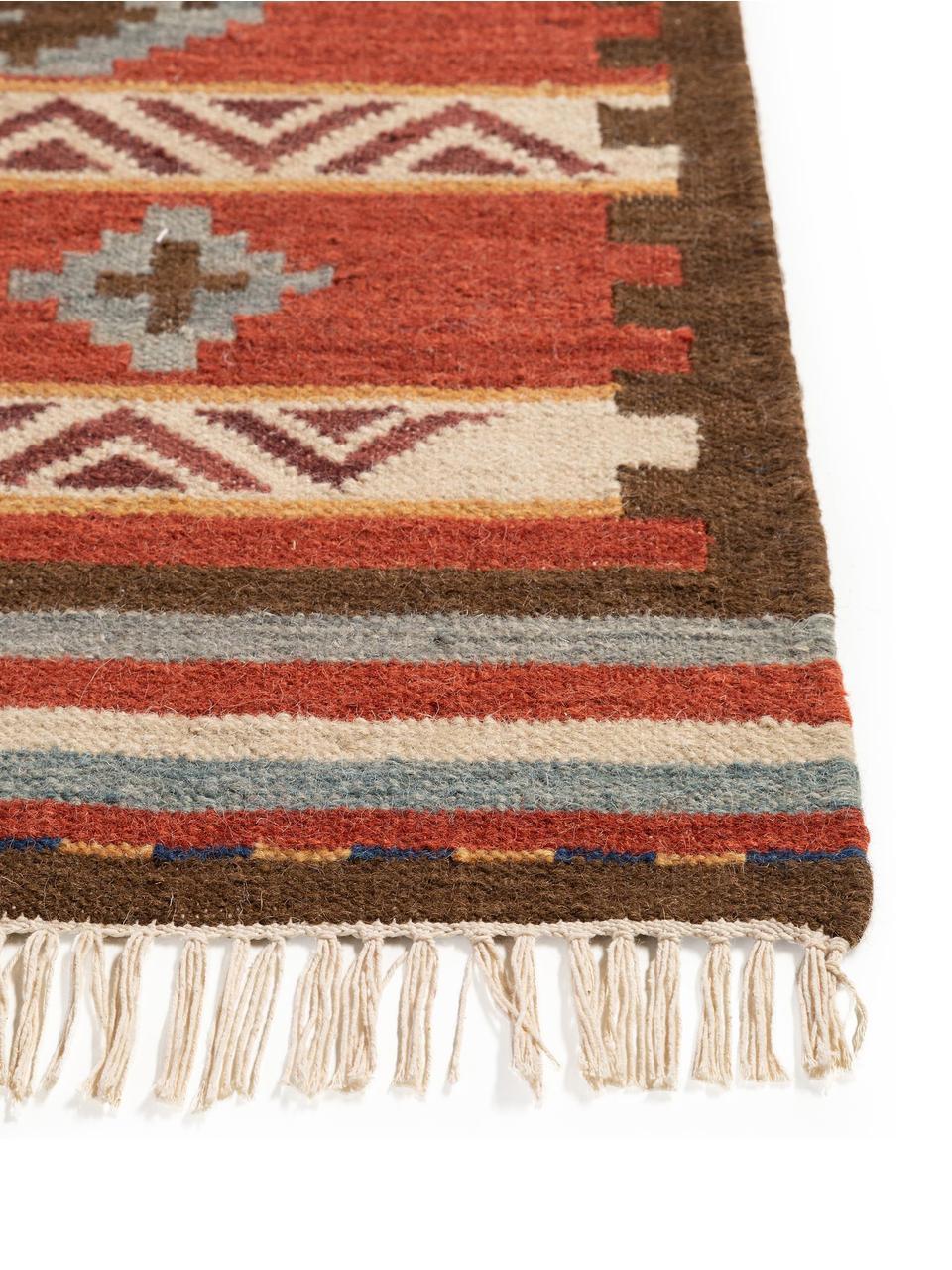 Tappeto in lana tessuto a mano Zohra, Retro: lana, Rosso, multicolore, Larg. 160 x Lung. 230 cm (taglia M)