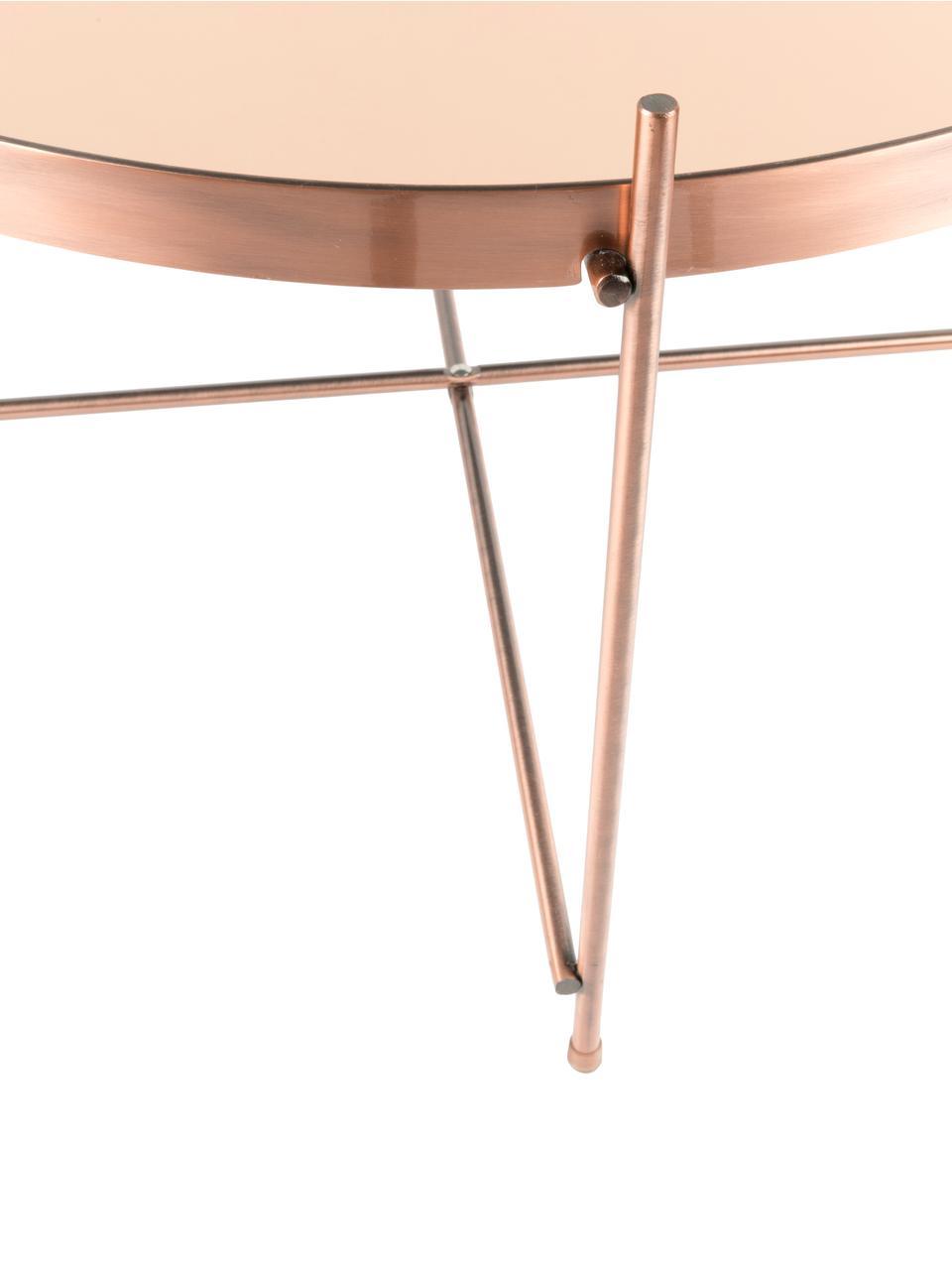 Kleiner Couchtisch Cupid mit Glasplatte, Gestell: Eisen, verkupfert, Tischplatte: Glas, Kupfer, Ø 63 x H 40 cm