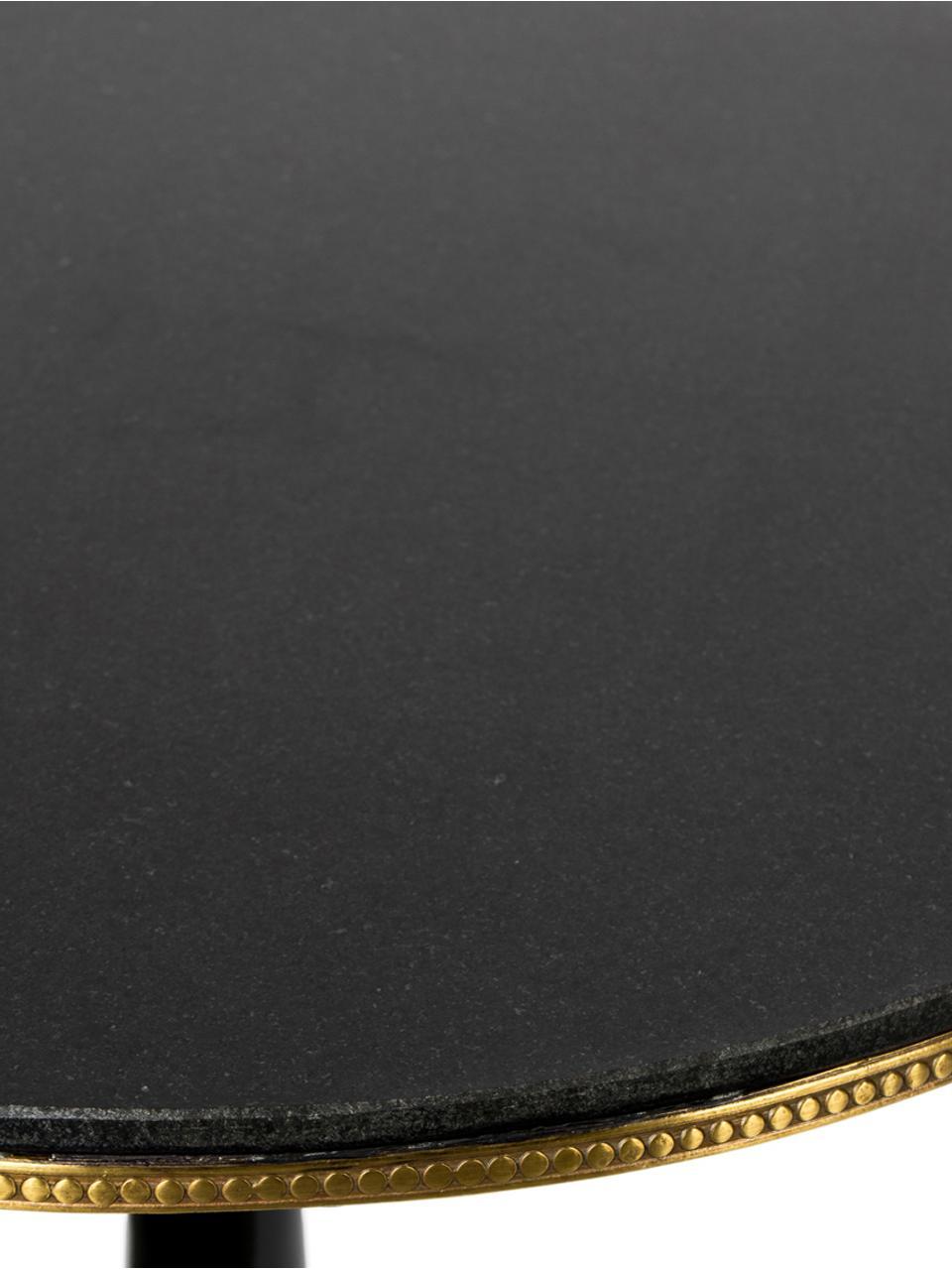 Runder Granitstein-Esstisch Own The Glow, Tischplatte: Granitstein, Schwarz, Goldfarben, Ø 65 x H 76 cm