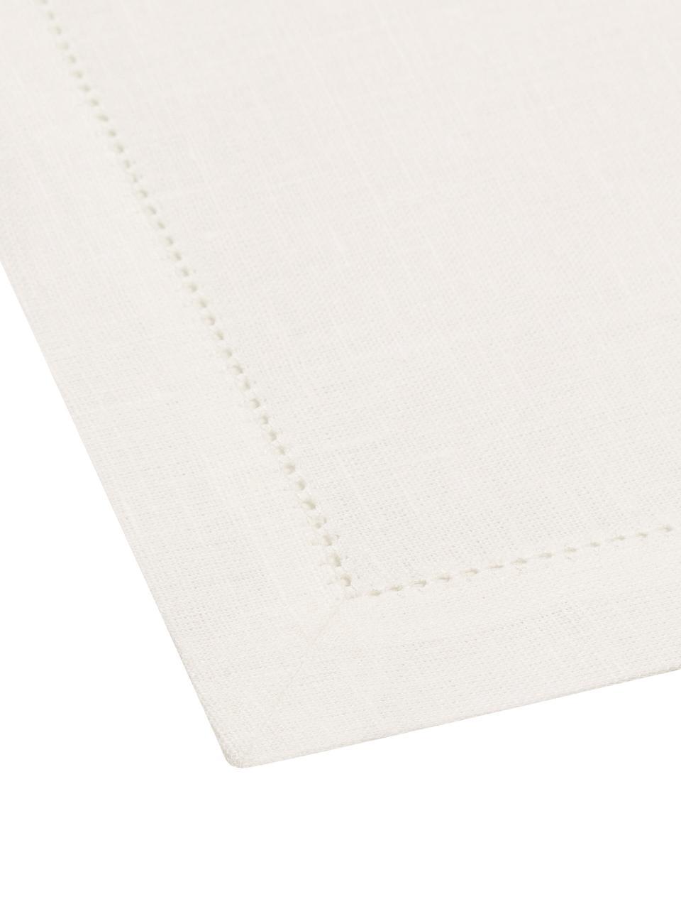 Serviettes de table en lin, avec ourlet Alanta, 6pièces, Blanc crème