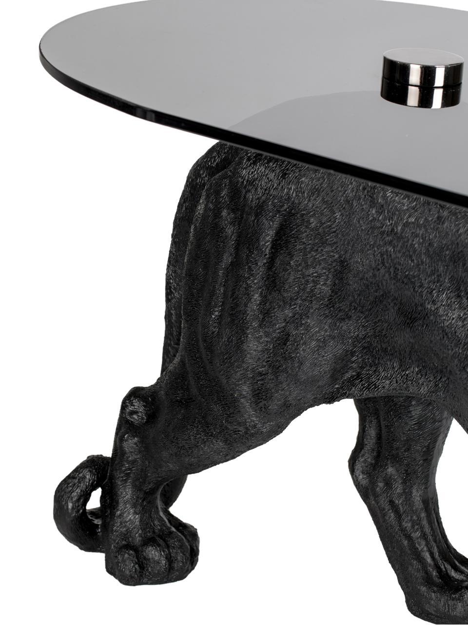 Design Couchtisch Dope As Hell, Platte: Hartglas, gefärbt, Gestell: Polyresin, lackiert, Schwarz, 90 x 42 cm