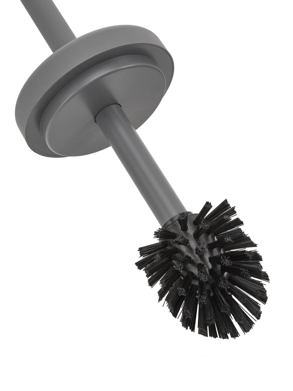 Toilettenbürste Ume mit Steingut-Behälter, Behälter: Steingut überzogen mit So, Griff: Kunststoff, Grau, matt, Ø 10 x H 39 cm