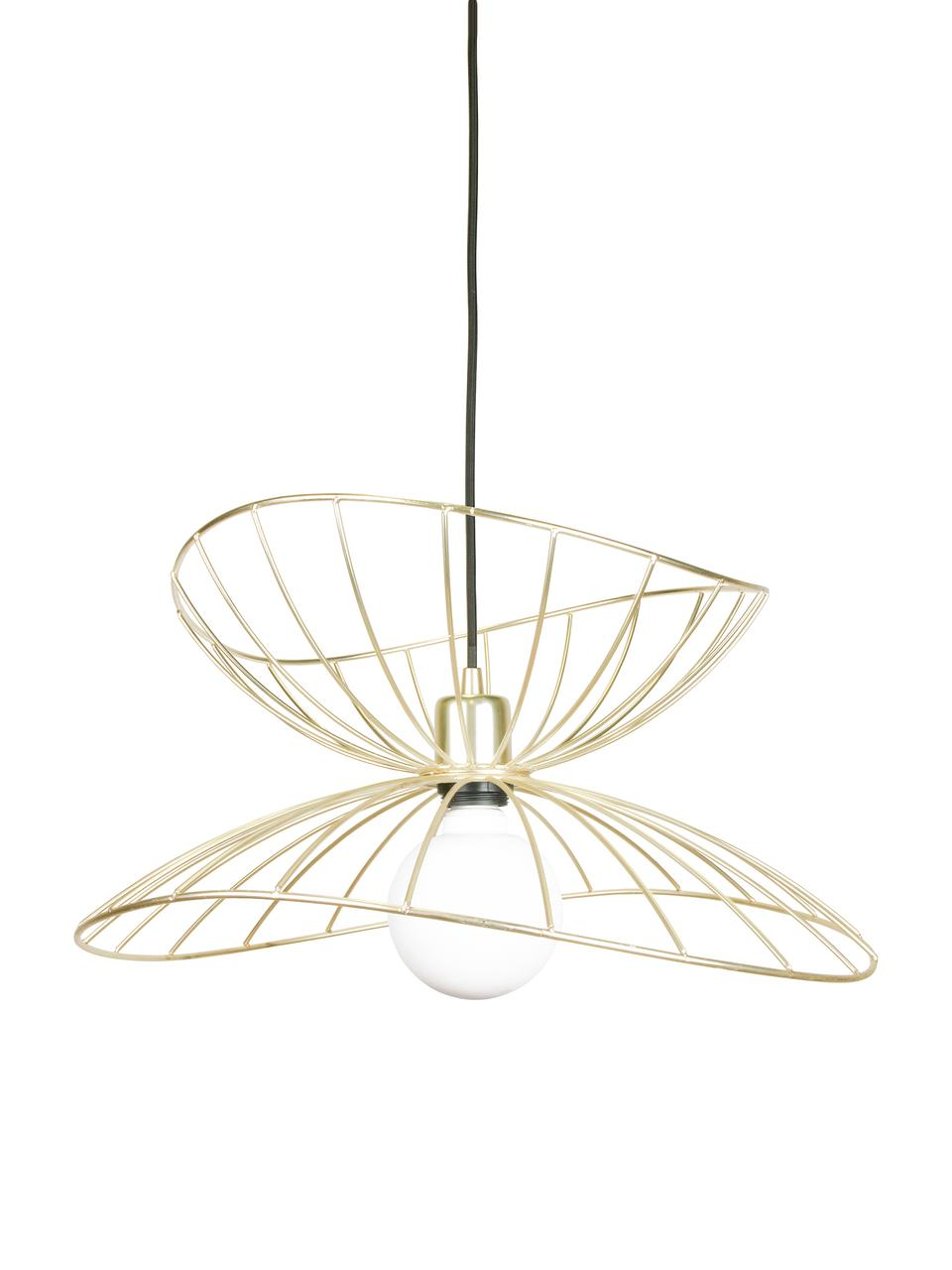 Hanglamp Ray, Lampenkap: vermessingd metaal en geb, Baldakijn: gelakt metaal, Geborsteld messingkleurig, Ø 70 cm