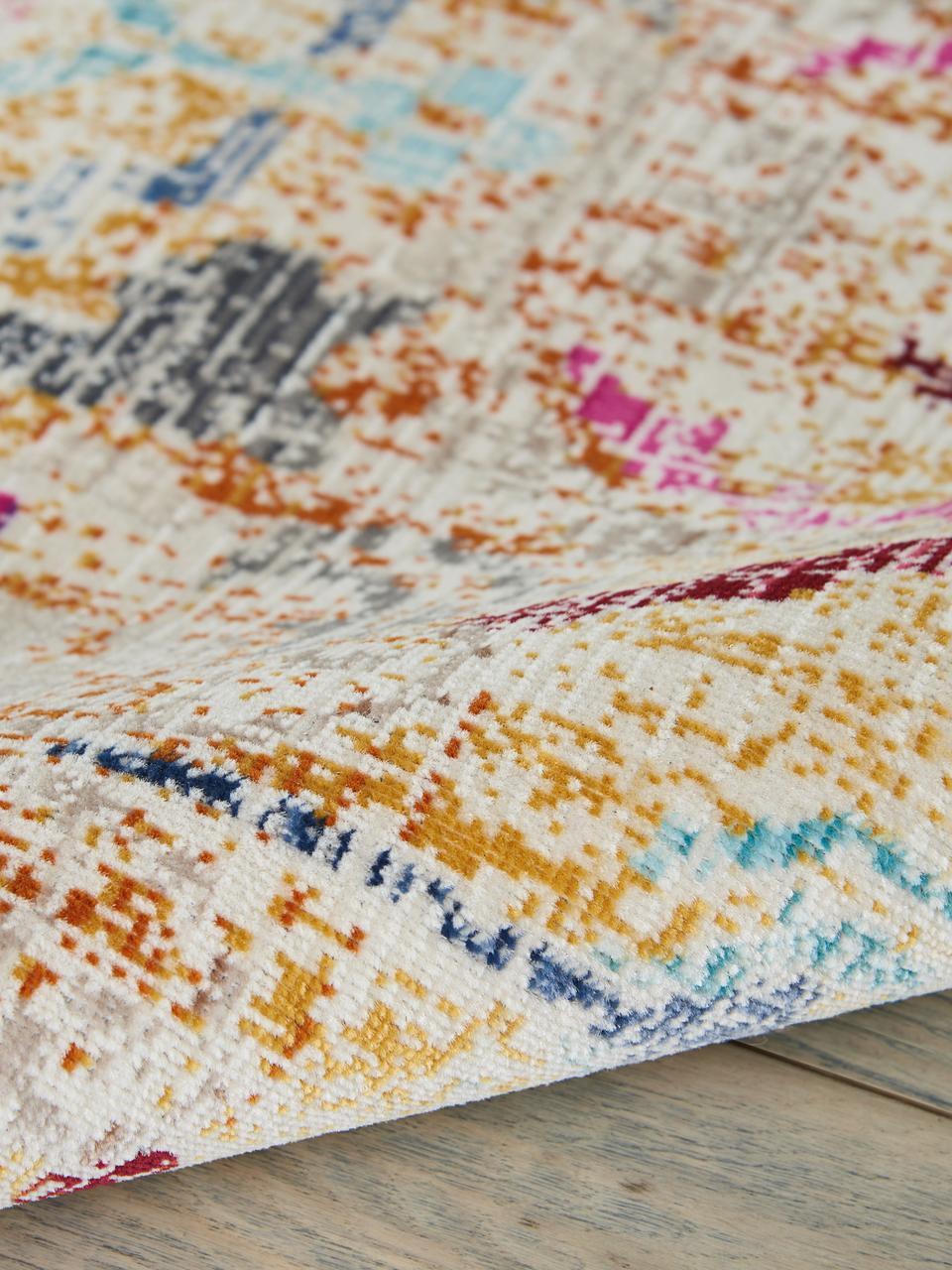 Alfombra de pelo corto Kashan, estilo vintage, Parte superior: 100%polipropileno, Reverso: látex, Beige, multicolor, An 240 x L 300 cm (Tamaño L)
