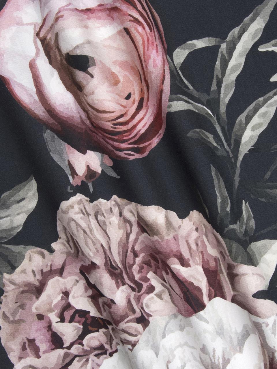 Baumwollsatin-Bettwäsche Blossom mit Blumen-Print, Webart: Satin Fadendichte 210 TC,, Mehrfarbig, Schwarz, 200 x 200 cm + 2 Kissen 80 x 80 cm