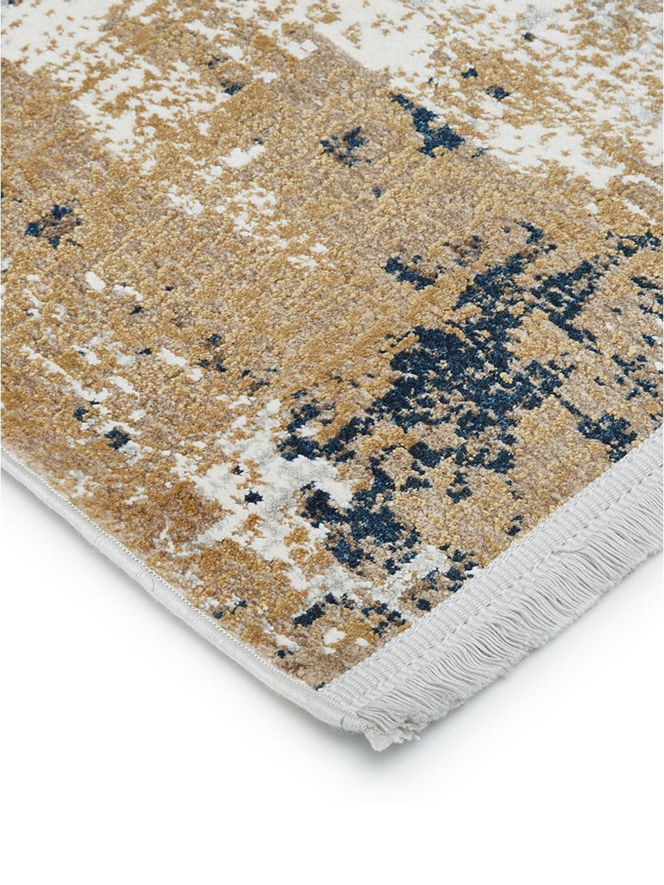 Teppich Verona mit abstraktem Muster, Flor: Viskose, Acryl, Creme, Beige, Grau, Braun, Dunkelblau, B 160 x L 230 cm (Größe M)