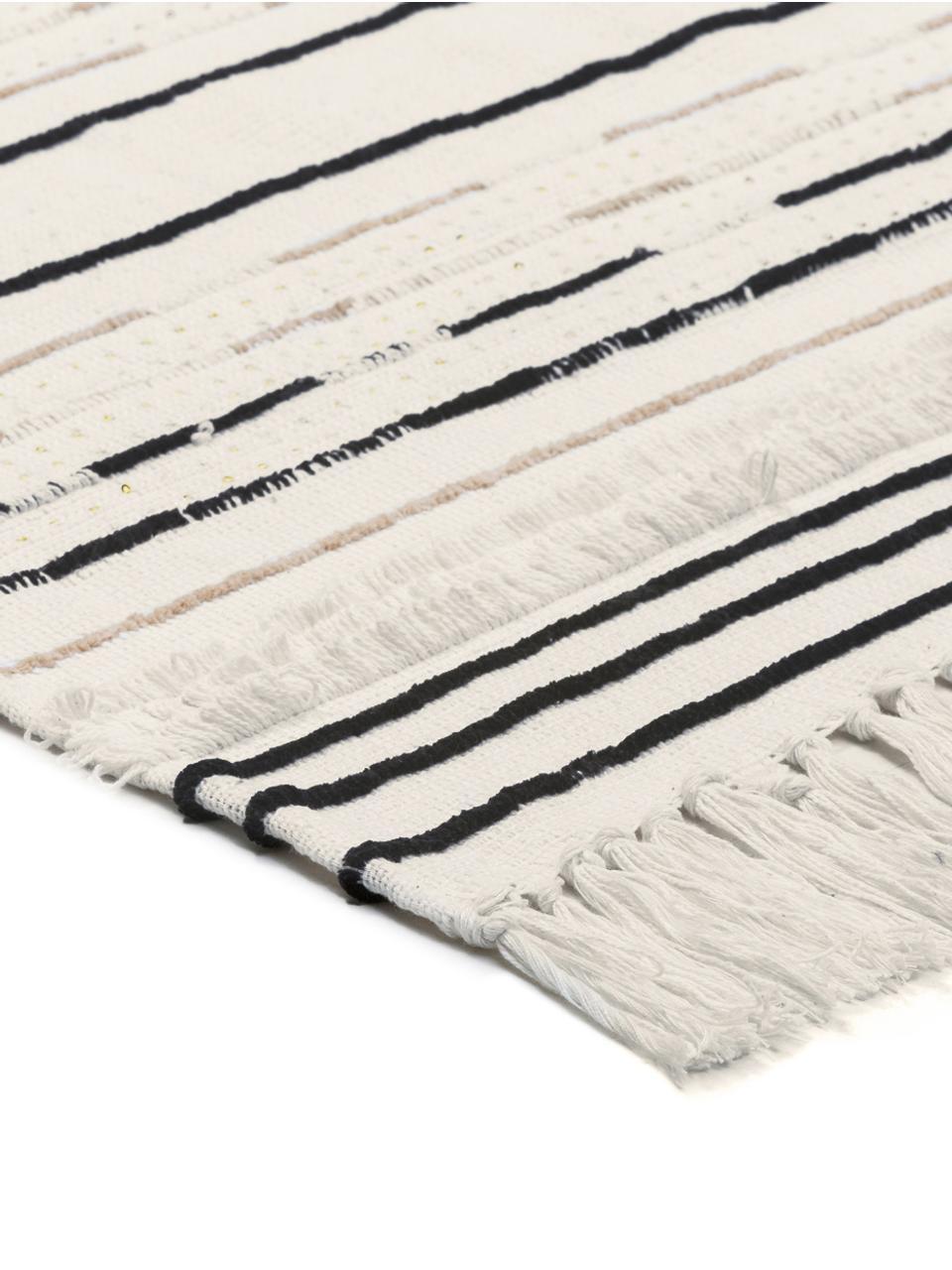 Plaid con motivo a trama e paillettes Lena, Cotone, Bianco, nero, beige chiaro, Larg. 130 x Lung. 170 cm