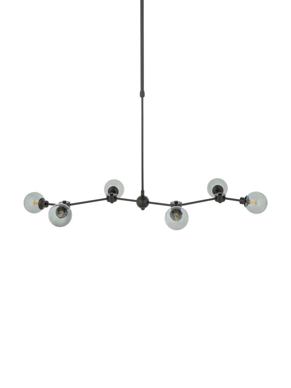 Große Pendelleuchte Aurelia in Schwarz, Baldachin: Metall, pulverbeschichtet, Schwarz, Grau, 110 x 68 cm