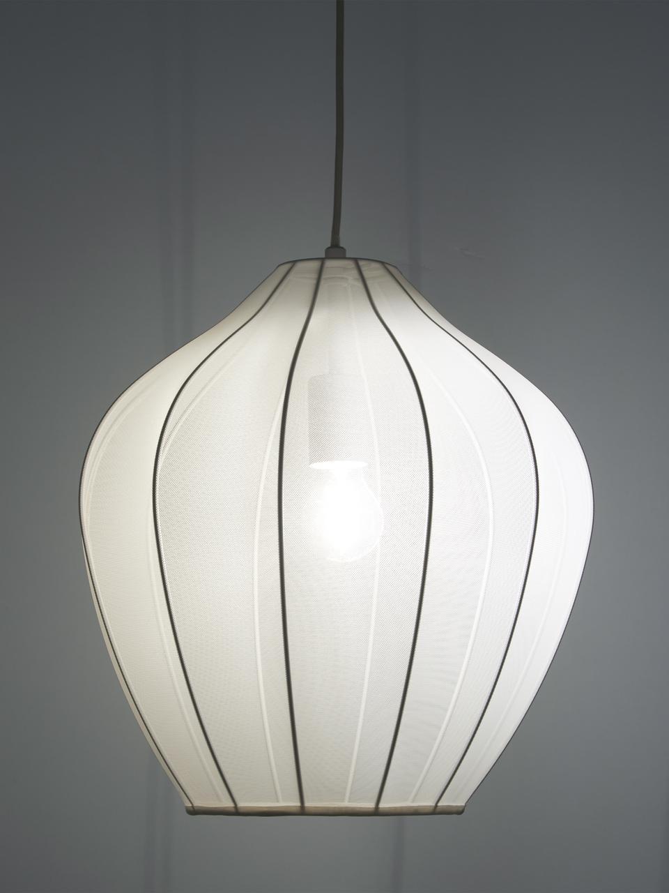 Hanglamp Majken van netstof, Baldakijn: gepoedercoat metaal, Lampenkap: textiel, Crèmekleurig, Ø 40 x H 40 cm