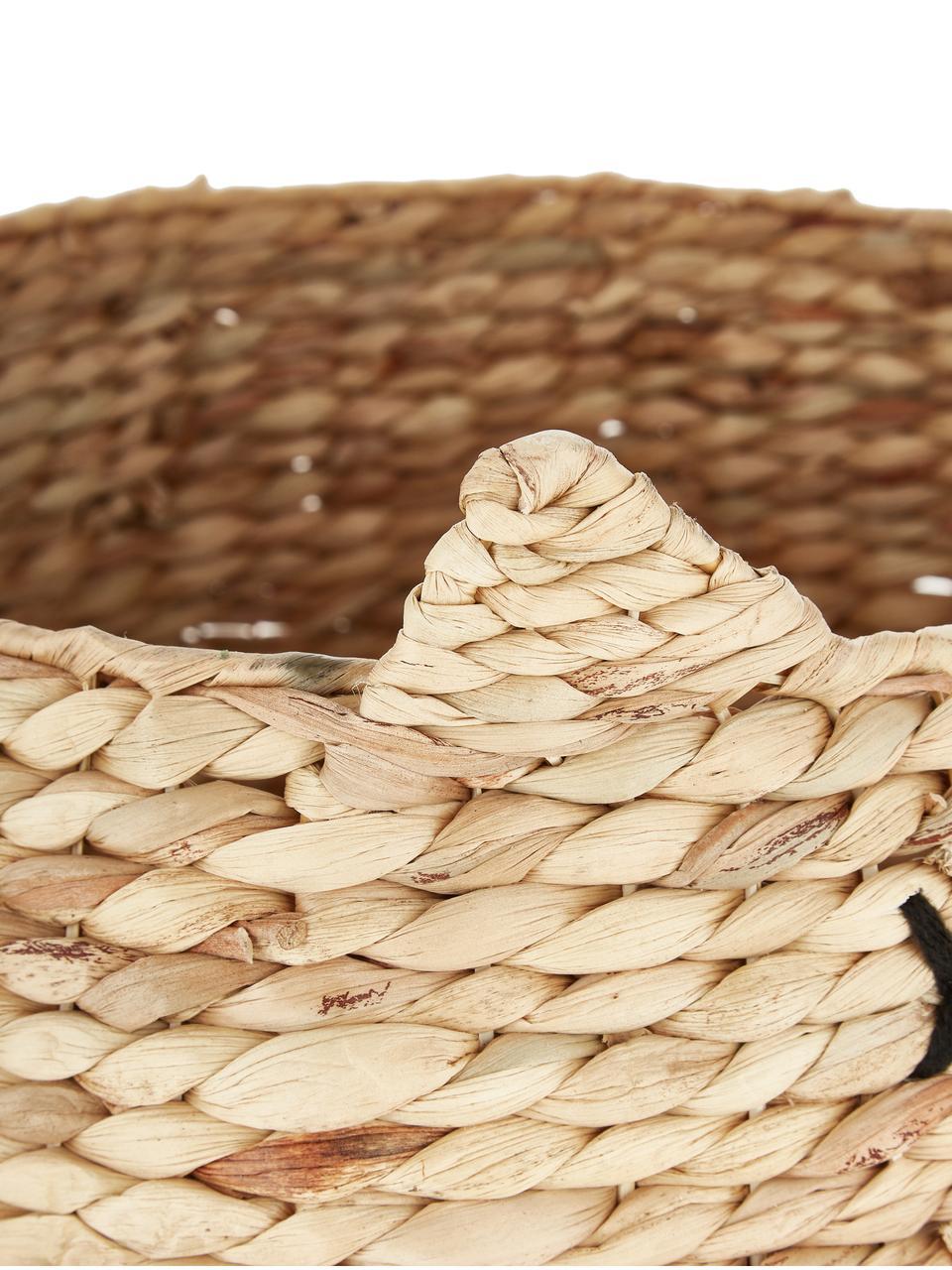Aufbewahrungskorb Sleepy, Wasserhyazinthe, Braun, Ø 50 x H 40 cm