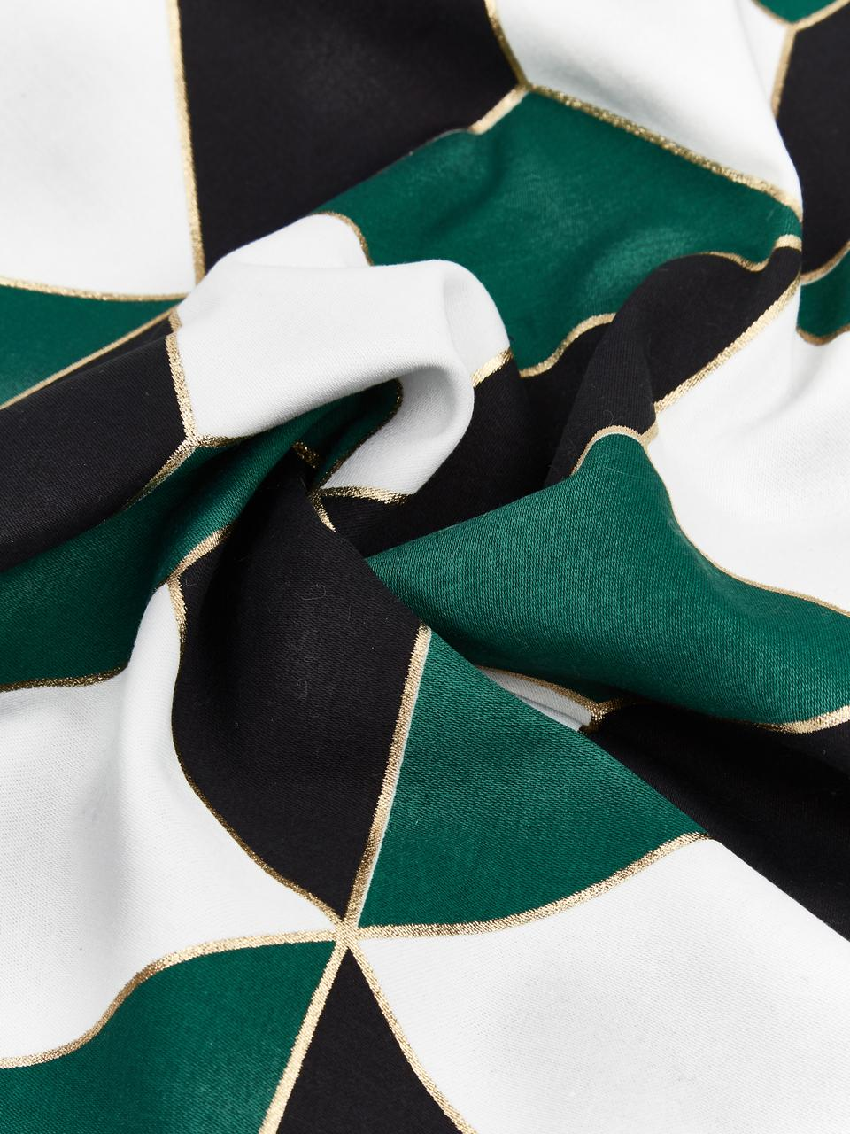 Funda de cojín estampada Geo, 100%algodón, Blanco crema, verde, dorado, An 45 x L 45 cm