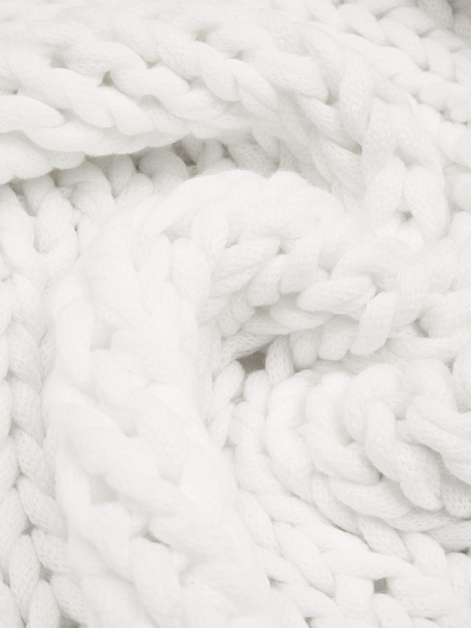 Plaid grosse maille blanc Adyna, Blanc crème