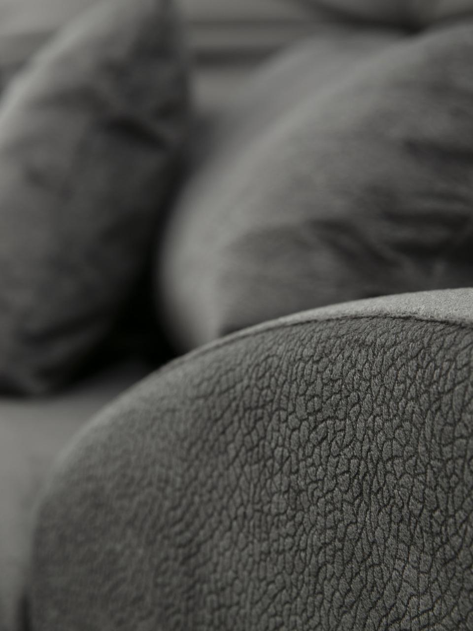 Divano angolare 4 posti in tessuto antracite Frido, Rivestimento: 100% poliestere, Struttura: legno di betulla, truciol, Piedini: metallo rivestito, Antracite, Larg. 308 x Prof. 190 cm
