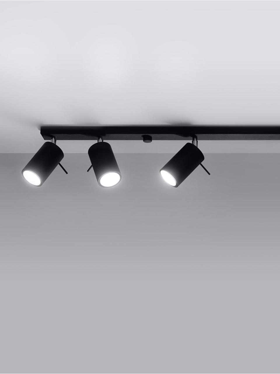 Großer Deckenstrahler Etna in Schwarz, Baldachin: Stahl, lackiert, Schwarz, 117 x 16 cm