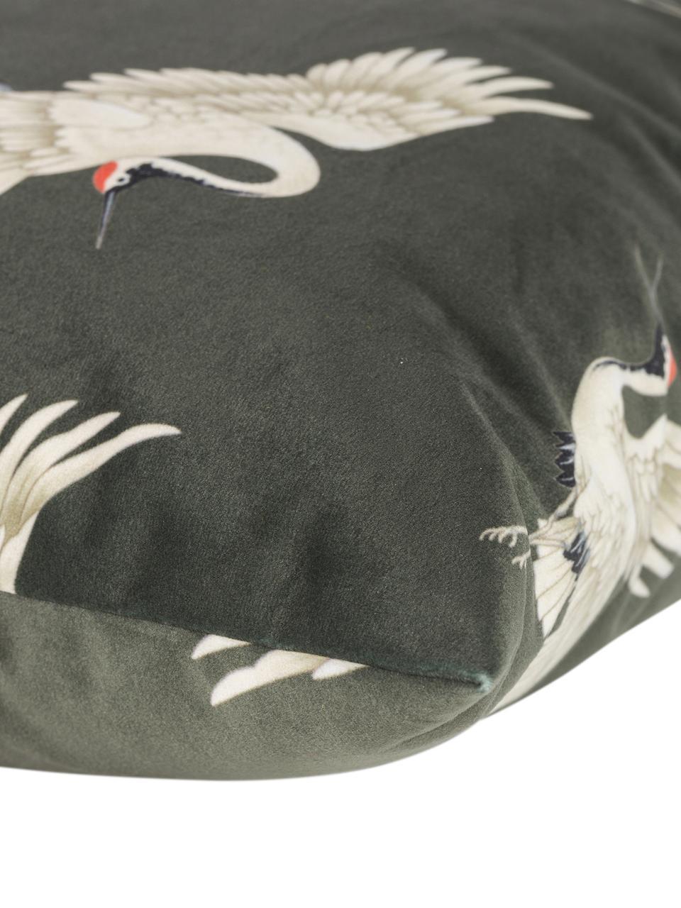 Samt-Kissenhülle Crane in Dunkelgrün, 100% Polyestersamt, bedruckt, Grün, Beige, Schwarz, Rot, 50 x 50 cm