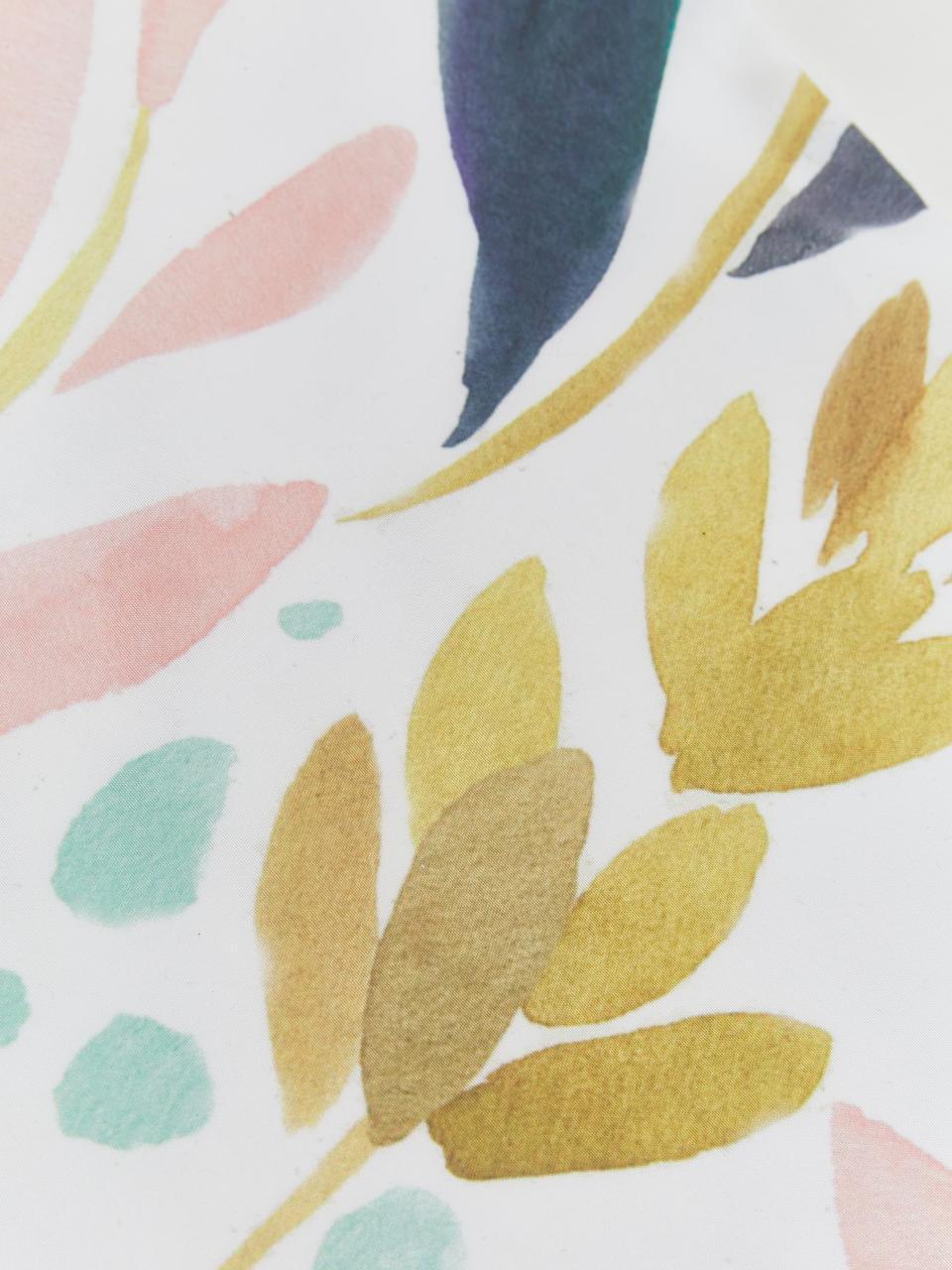 Federa arredo con stampa acquerello Agia, Poliestere, Bianco, blu scuro, azzurro, rosa, giallo senape, Larg. 40 x Lung. 40 cm