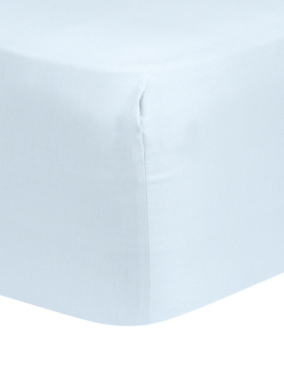 Spannbettlaken Comfort in Hellblau, Baumwollsatin, Webart: Satin, leicht glänzend, Hellblau, 180 x 200 cm