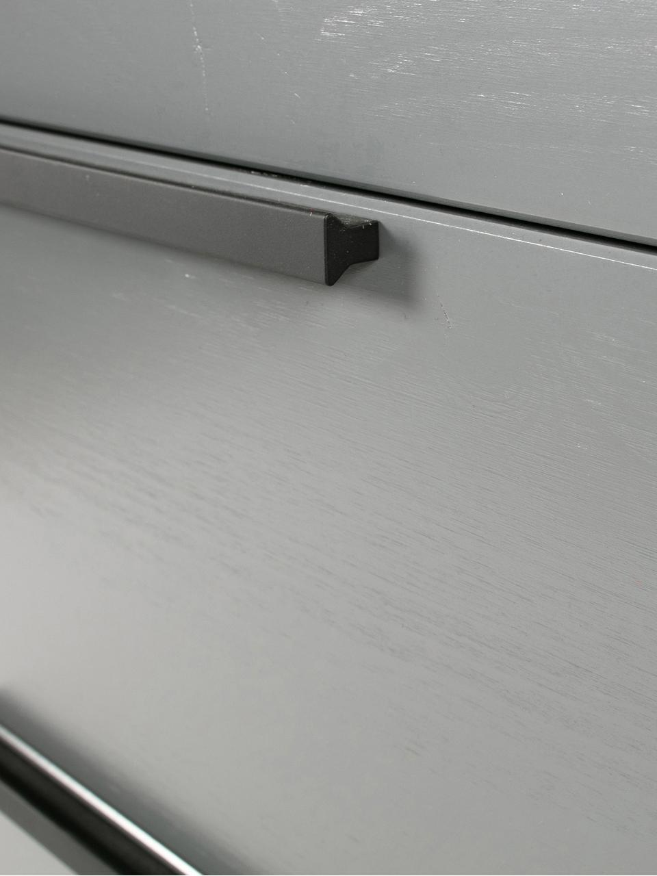 Graue Schubladenkommode Adam, Korpus: Kiefernholz, lackiert, Stahlgrau, 94 x 93 cm