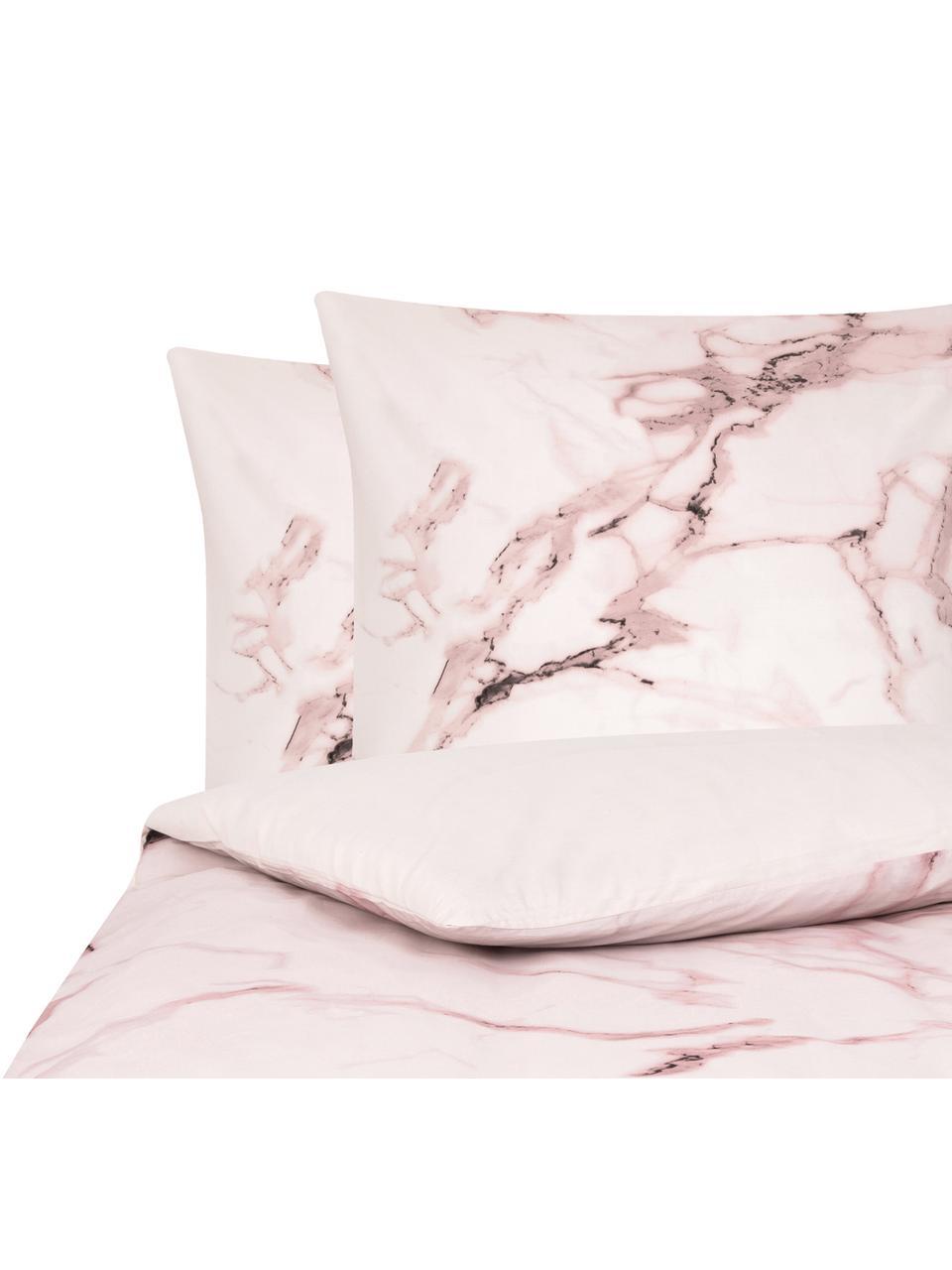 Dubbelzijdig dekbedovertrek Malin, Weeftechniek: renforcé Draaddichtheid 2, Voorzijde: marmerpatroon, roze Achterzijde: roze, Effen, 140 x 200 cm