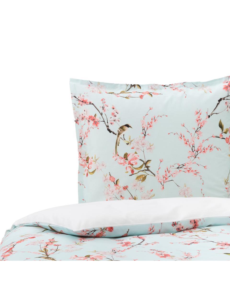 Baumwoll-Bettwäsche Chinoiserie in Mint mit Kirschblüten, 100% Baumwolle  Fadendichte 150 TC, Standard Qualität  Bettwäsche aus Baumwolle fühlt sich auf der Haut angenehm weich an, nimmt Feuchtigkeit gut auf und eignet sich für Allergiker., Mint, Rosatöne, Grün, Weiß, 140 x 200 cm + 1 Kissen 80 x 80 cm