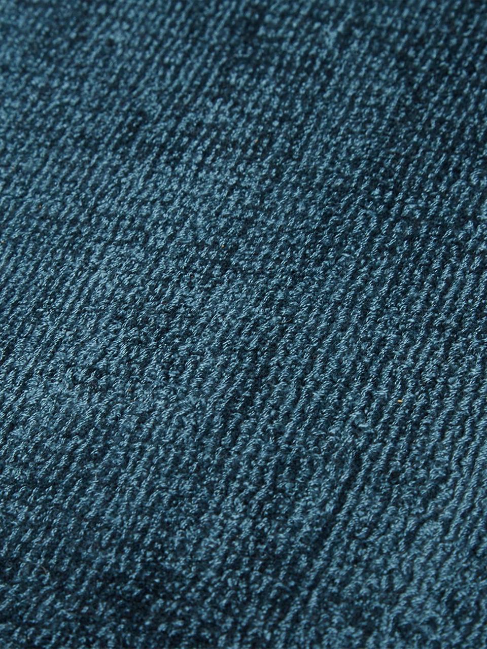 Okrągły ręcznie tkany dywan z wiskozy Jane, Petrol, Ø 200 cm (Rozmiar L)