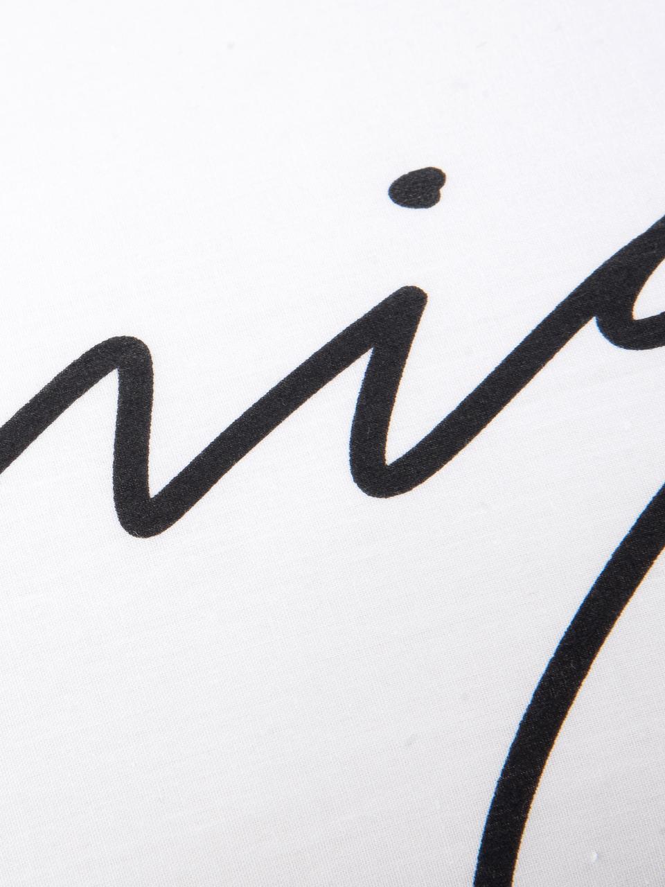 Baumwollperkal-Kissenbezüge Writings mit Schriftzug, 2 Stück, Webart: Perkal Fadendichte 180 TC, Weiß, Schwarz, 40 x 80 cm