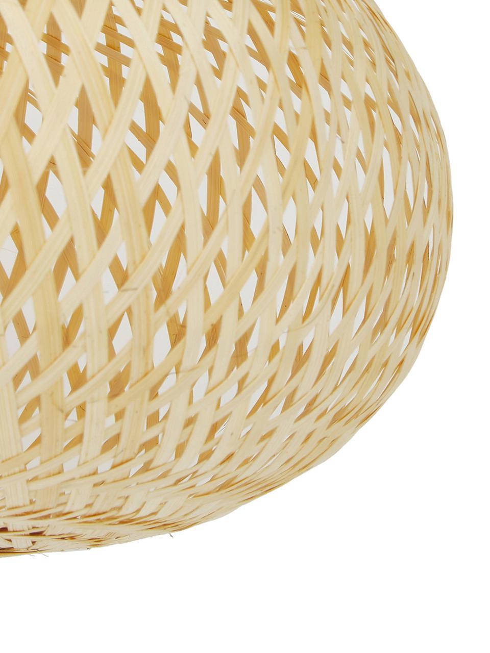 Plafoniera di design in bambù Evelyn, Paralume: bambù, Baldacchino: metallo verniciato a polv, Paralume: bambù Baldacchino e montatura: beige opaco, Ø 50 x Alt. 20 cm