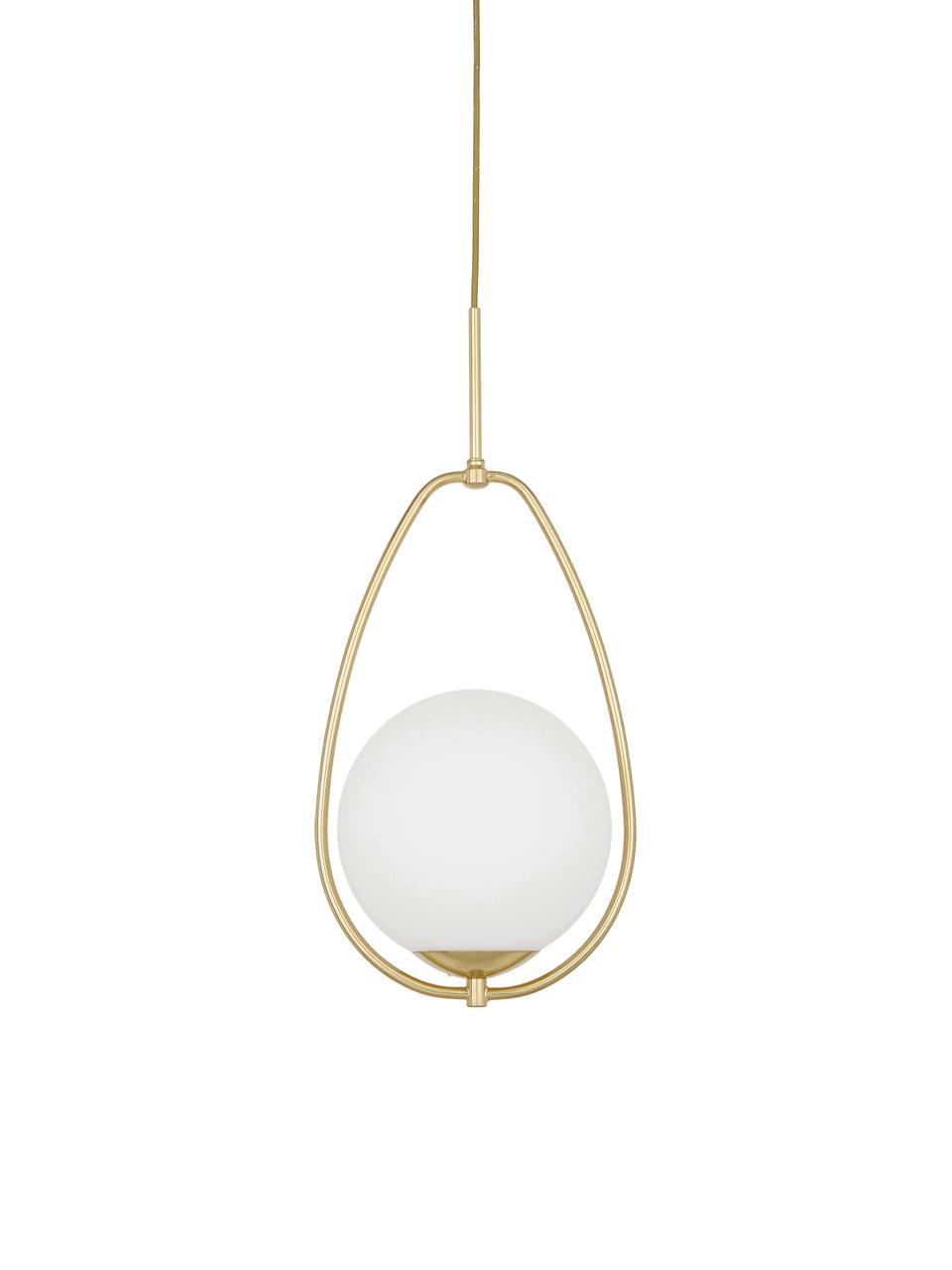Malé závěsné svítidlo z opálového skla Avalon, Bílá, zlatá