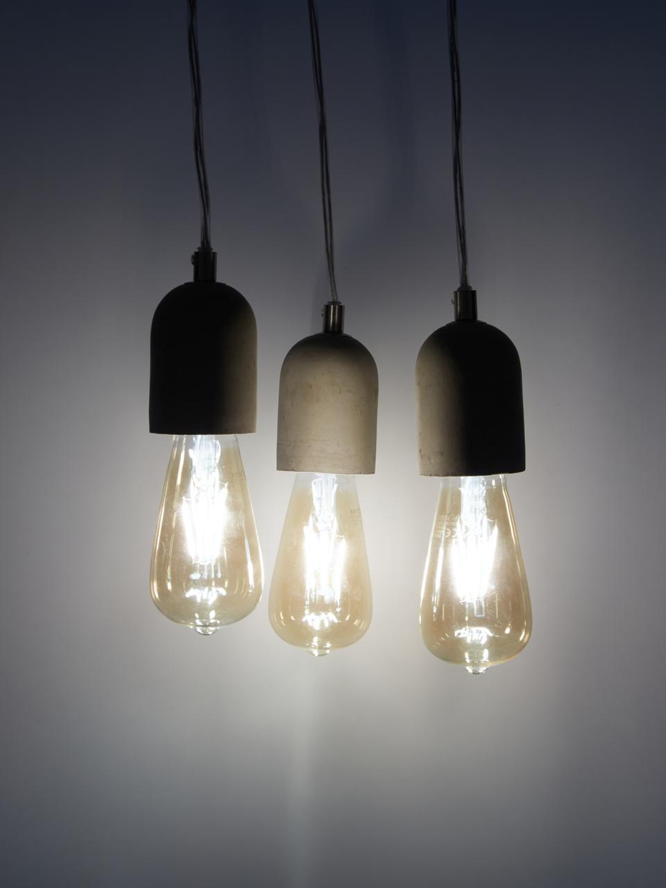 Mała lampa wisząca z betonu Hedda, Szary, Ø 20 cm