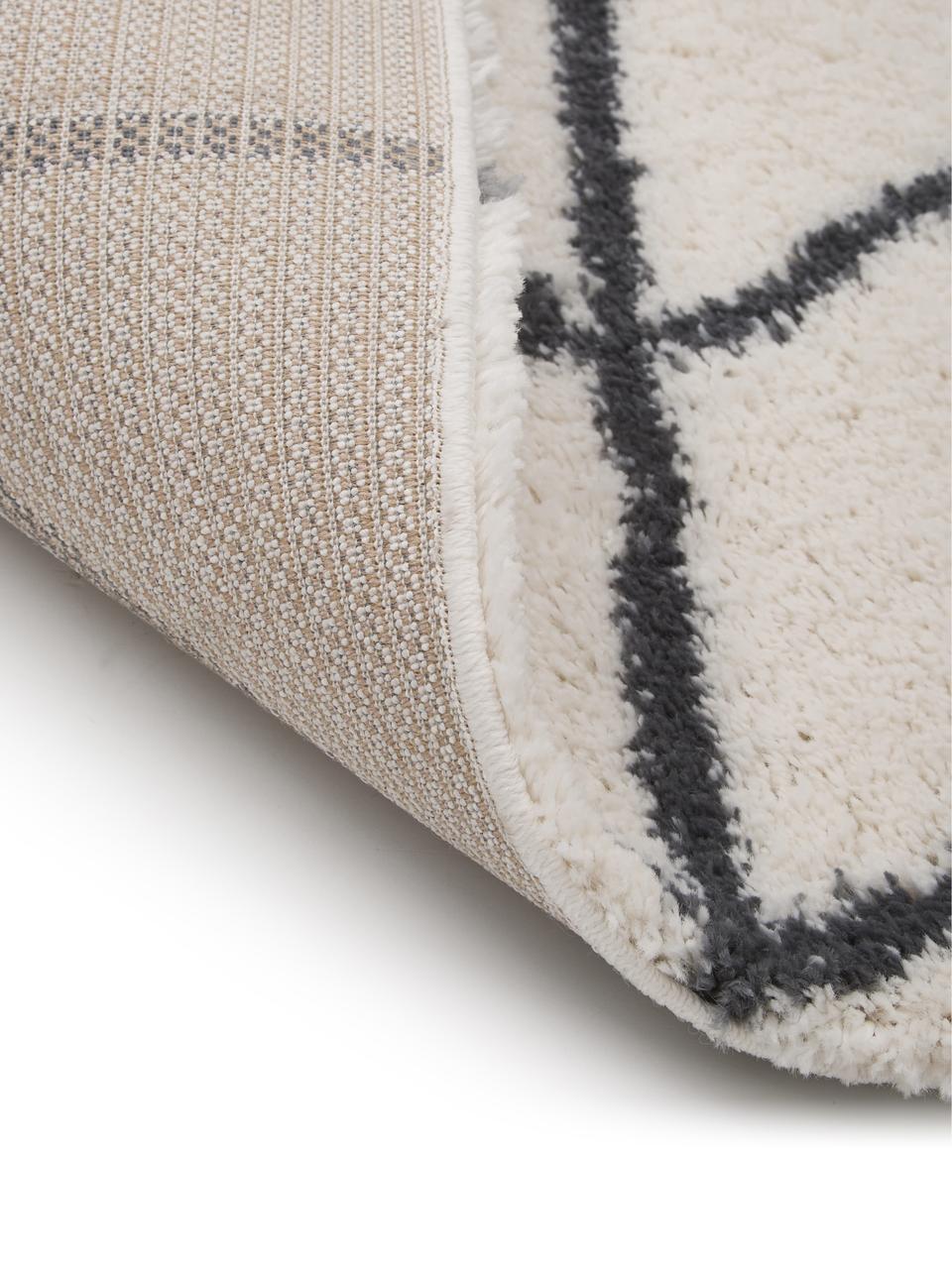 Flauschiger Hochflor-Läufer Cera in Cremeweiß/Dunkelgrau, Flor: 100% Polypropylen, Cremeweiß, Dunkelgrau, 80 x 250 cm