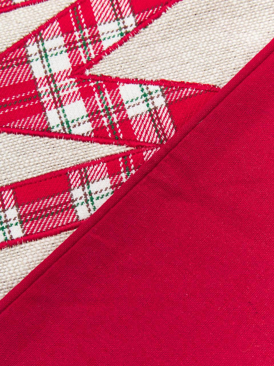 Housse de coussin 45x45 Noël Wreath, Beige, rouge, vert, bordure passepoilée: rouge