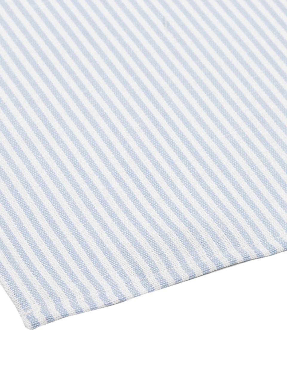 Serwetka Streifen, 6 szt., Biały, jasny niebieski, S 45 x D 45 cm