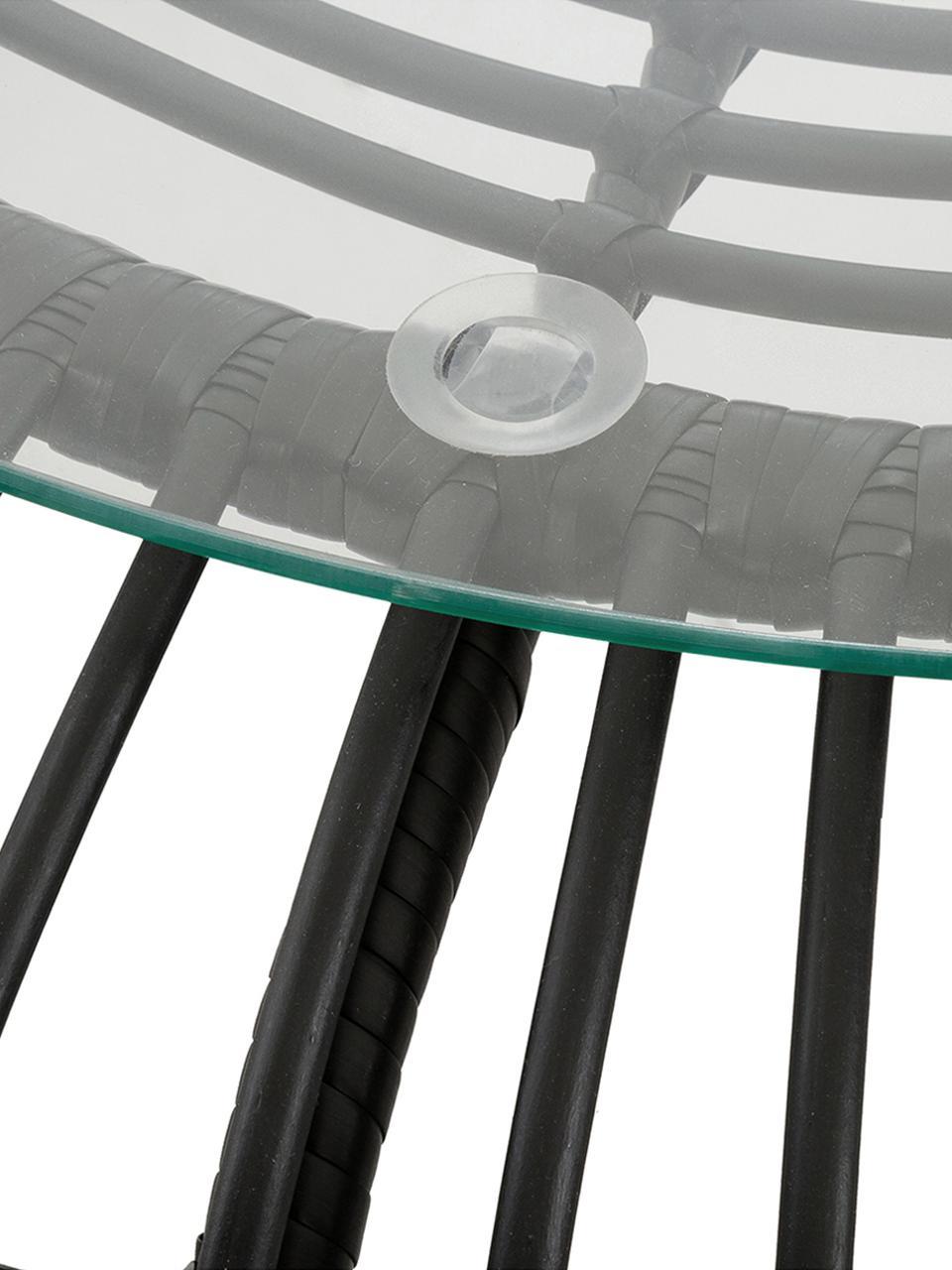 Tuintafel Costa met polyrotan, Tafelblad: glas, dikte, Frame: polyethyleen-vlechtwerk, Zwart, Ø 85 x H 42 cm