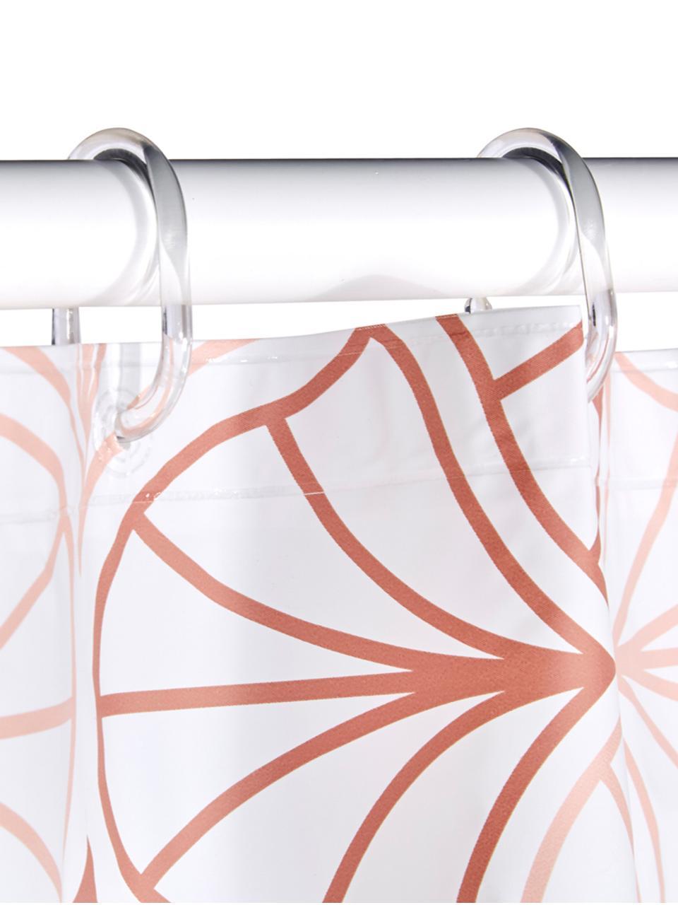 Tenda da doccia Bloom, Eco-plastica (PEVA), privo di PVC, Bianco, terracotta, Larg. 180 x Lung. 200 cm